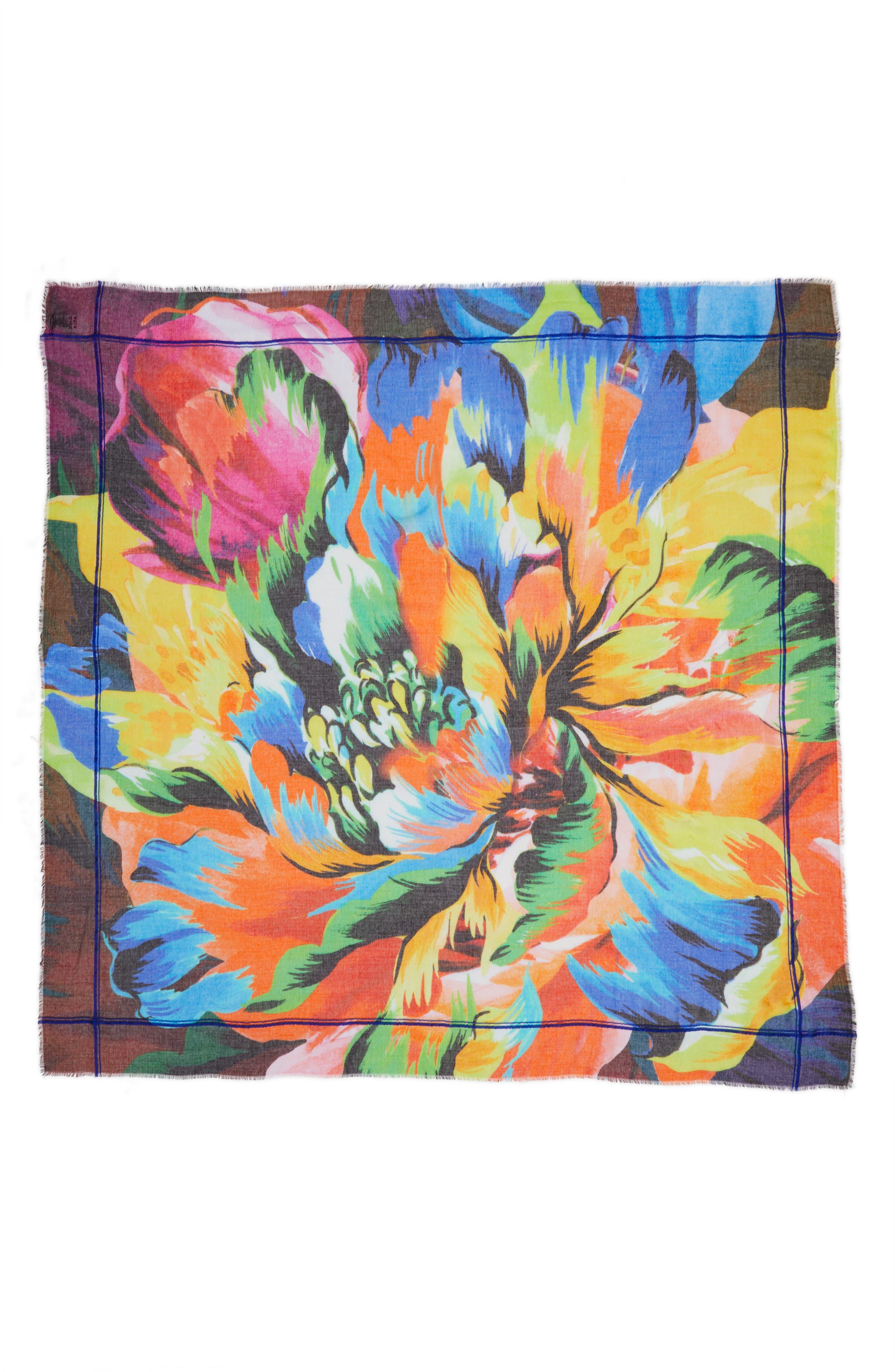 Cuba Blooms Square Scarf,                             Alternate thumbnail 2, color,                             001