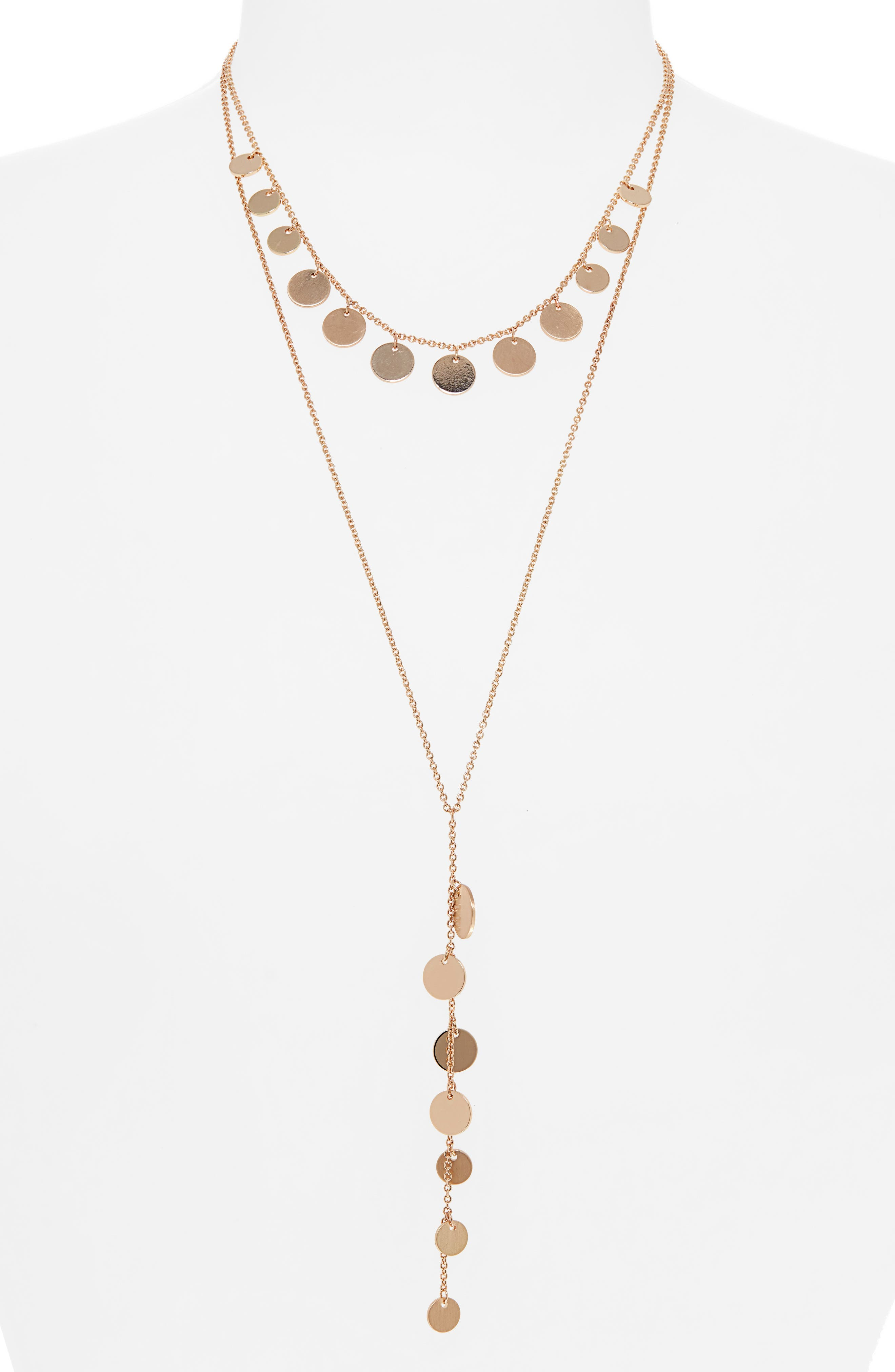 Disc Layered Y-Necklace, Main, color, GOLD