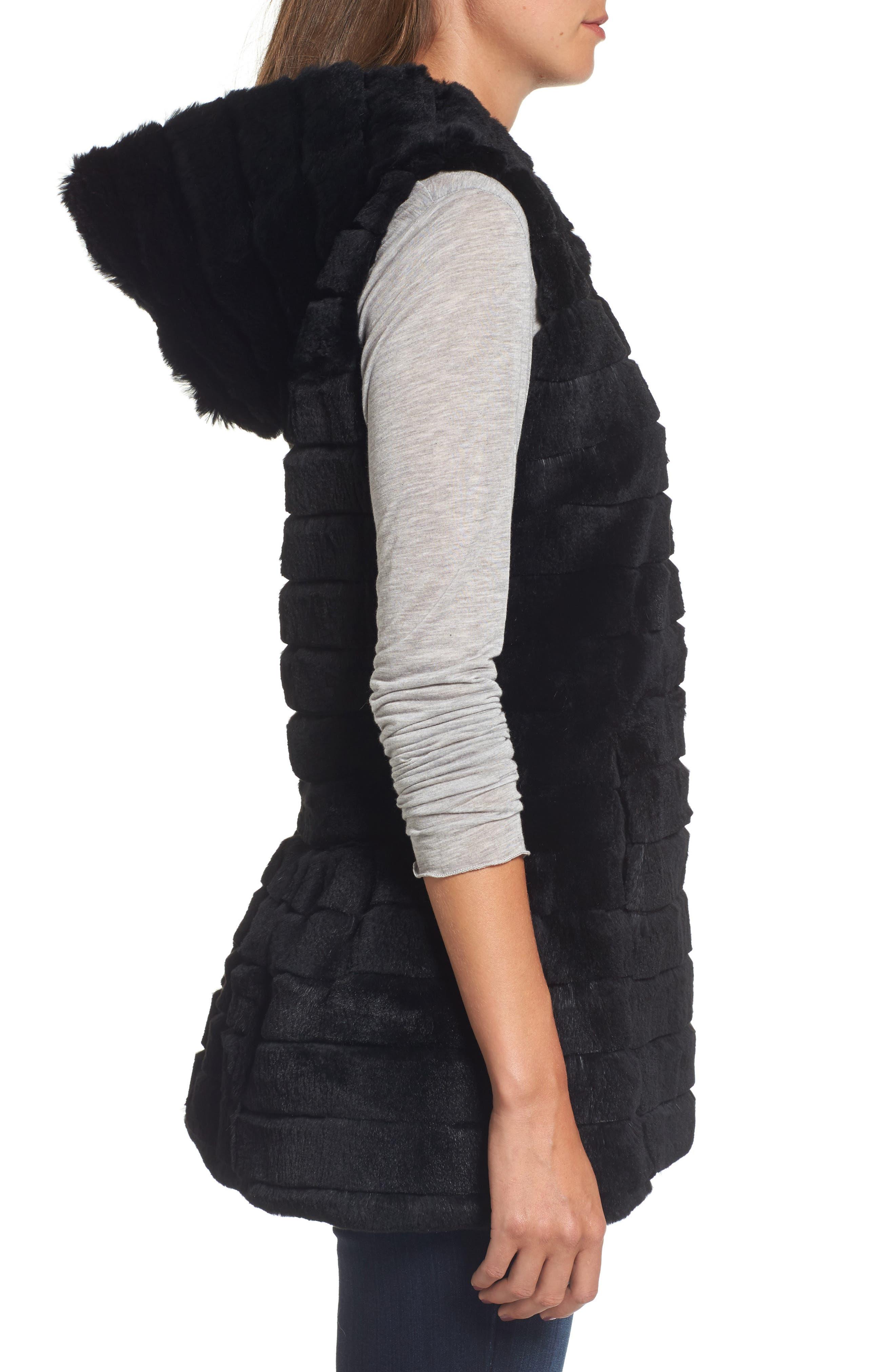 Genuine Rabbit Fur Hooded Vest,                             Alternate thumbnail 3, color,                             001