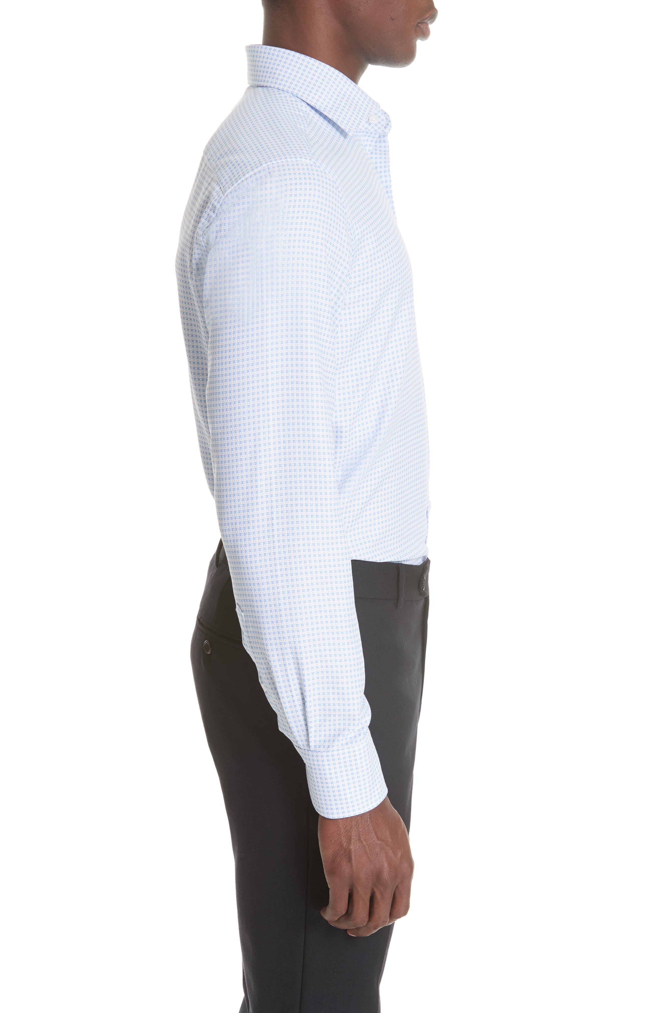 Trim Fit Check Dress Shirt,                             Alternate thumbnail 4, color,                             BRIGHT BLUE