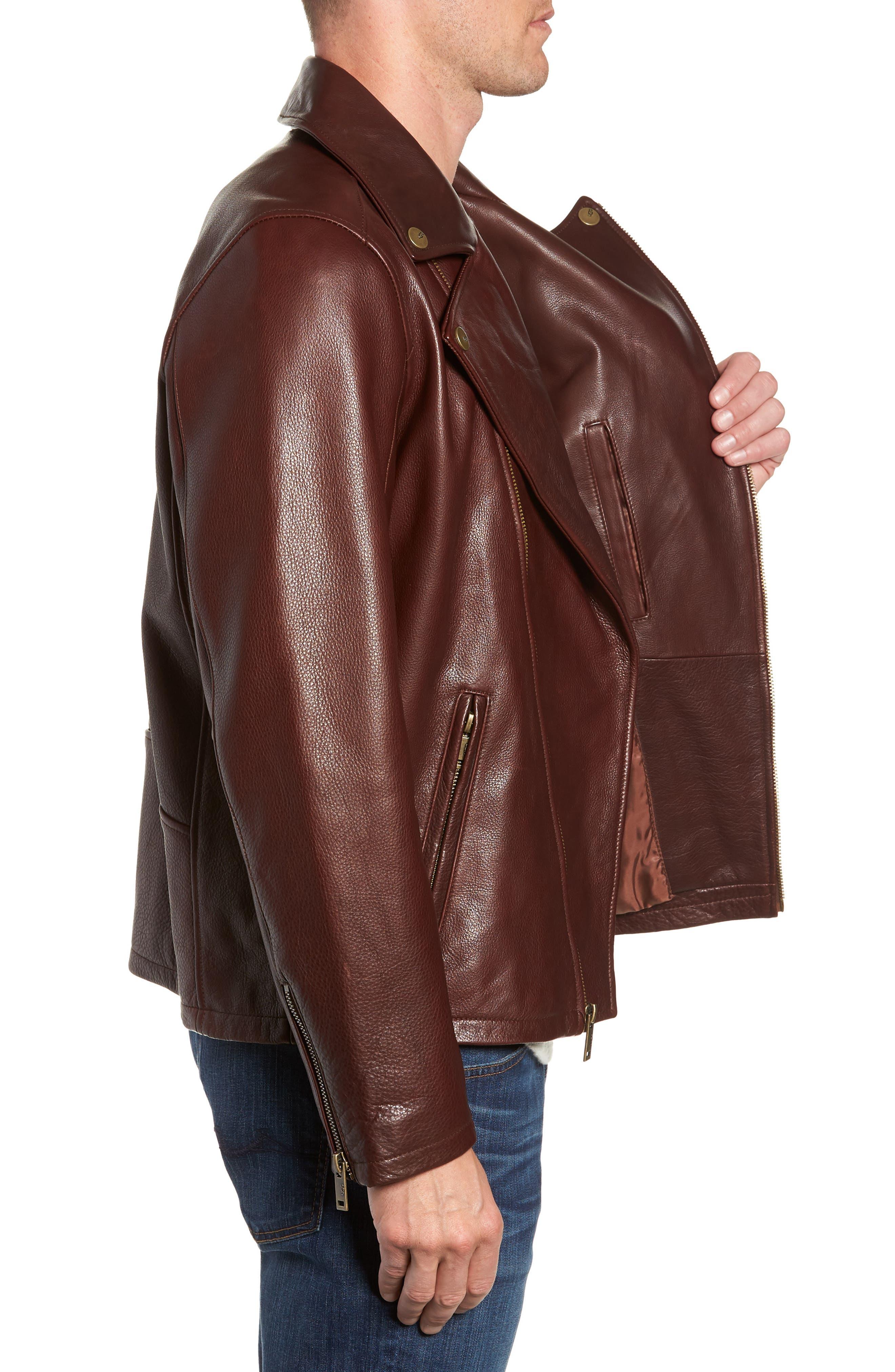 Leather Moto Jacket,                             Alternate thumbnail 3, color,                             DARK CHESTNUT
