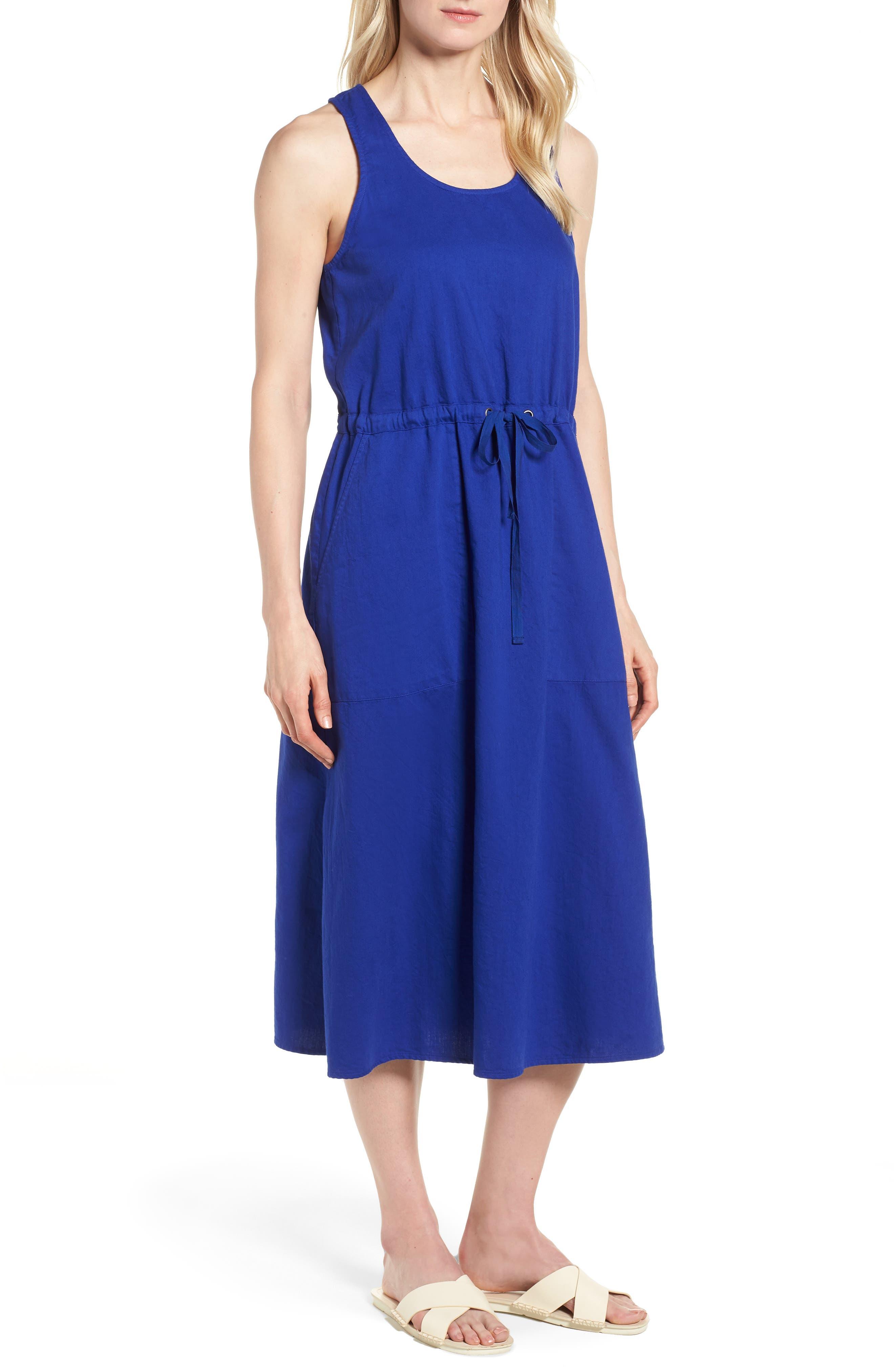 Drawstring Organic Cotton Midi Dress,                             Main thumbnail 4, color,