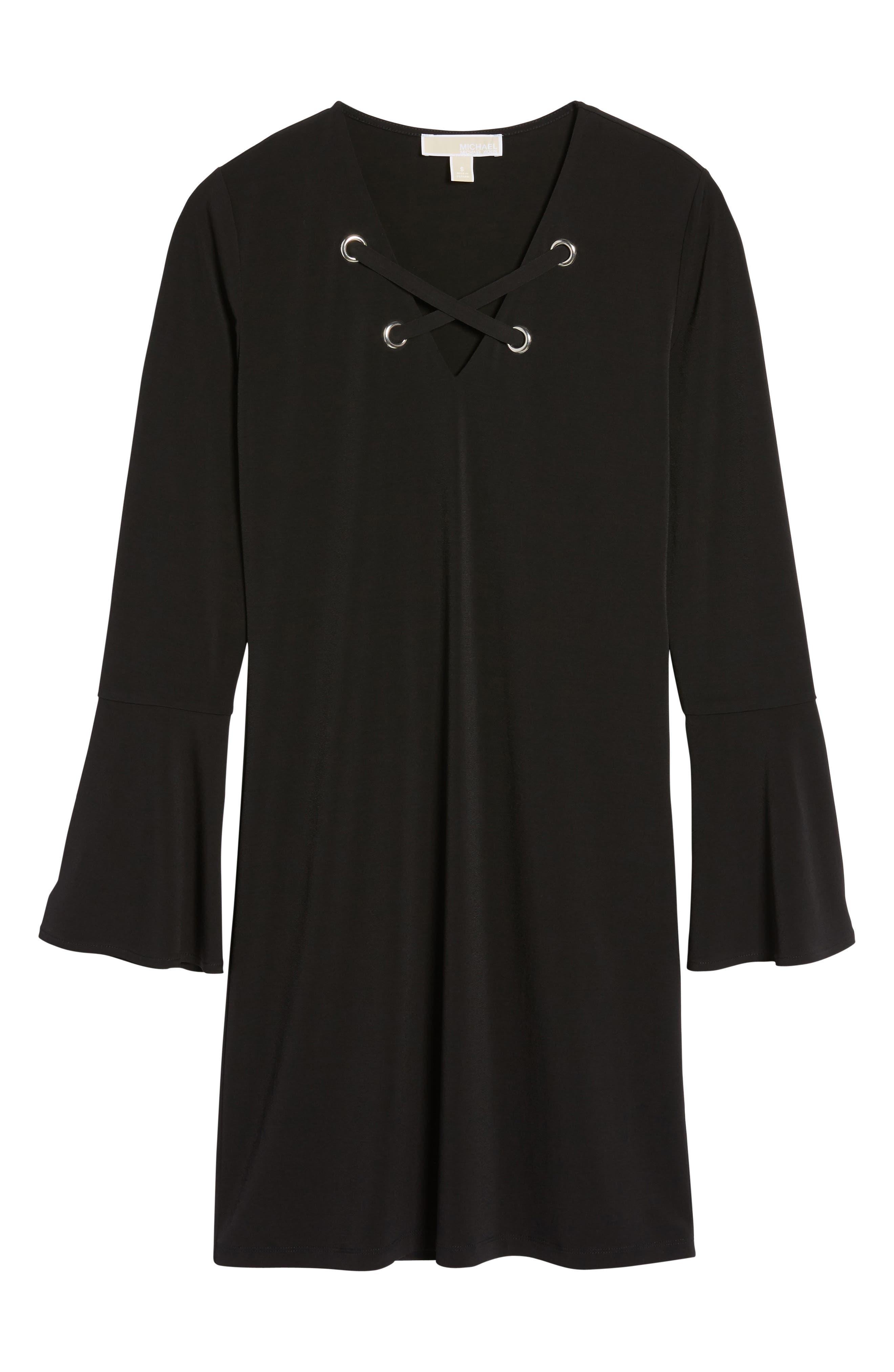 Grommet Lace Shift Dress,                             Alternate thumbnail 6, color,                             001