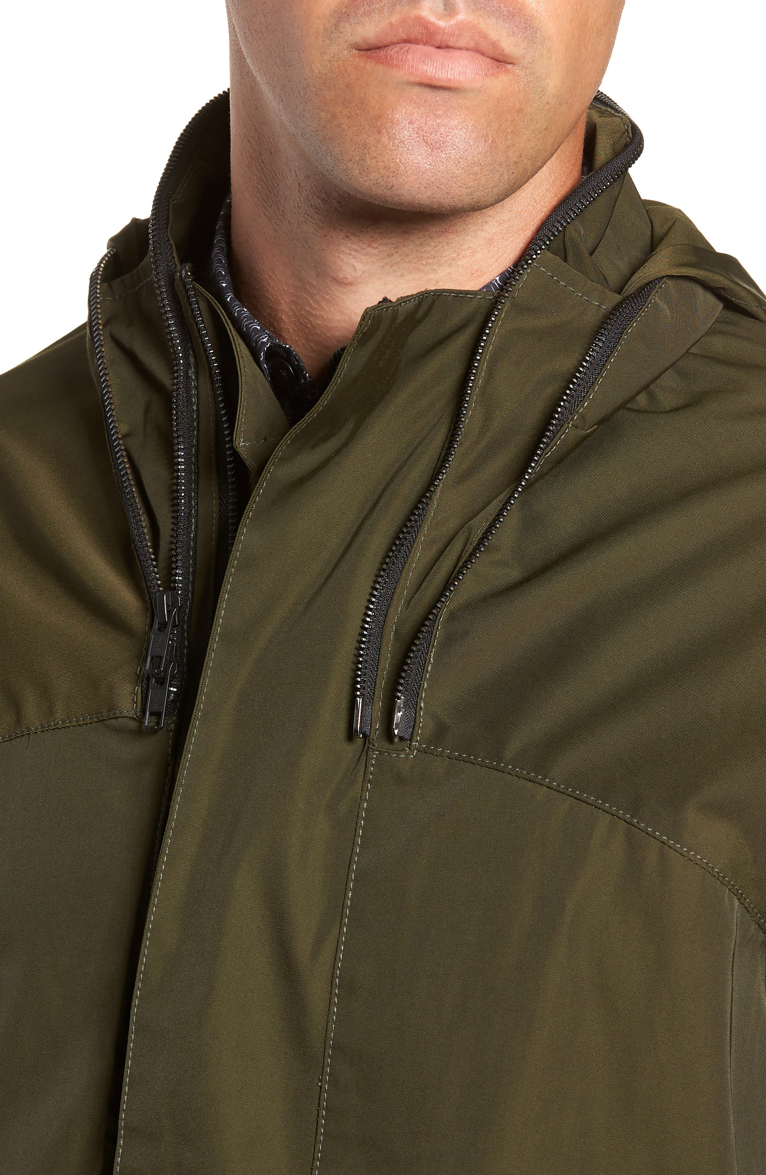 Slim Fit Delta Bomber Jacket,                             Alternate thumbnail 4, color,                             OLIVE
