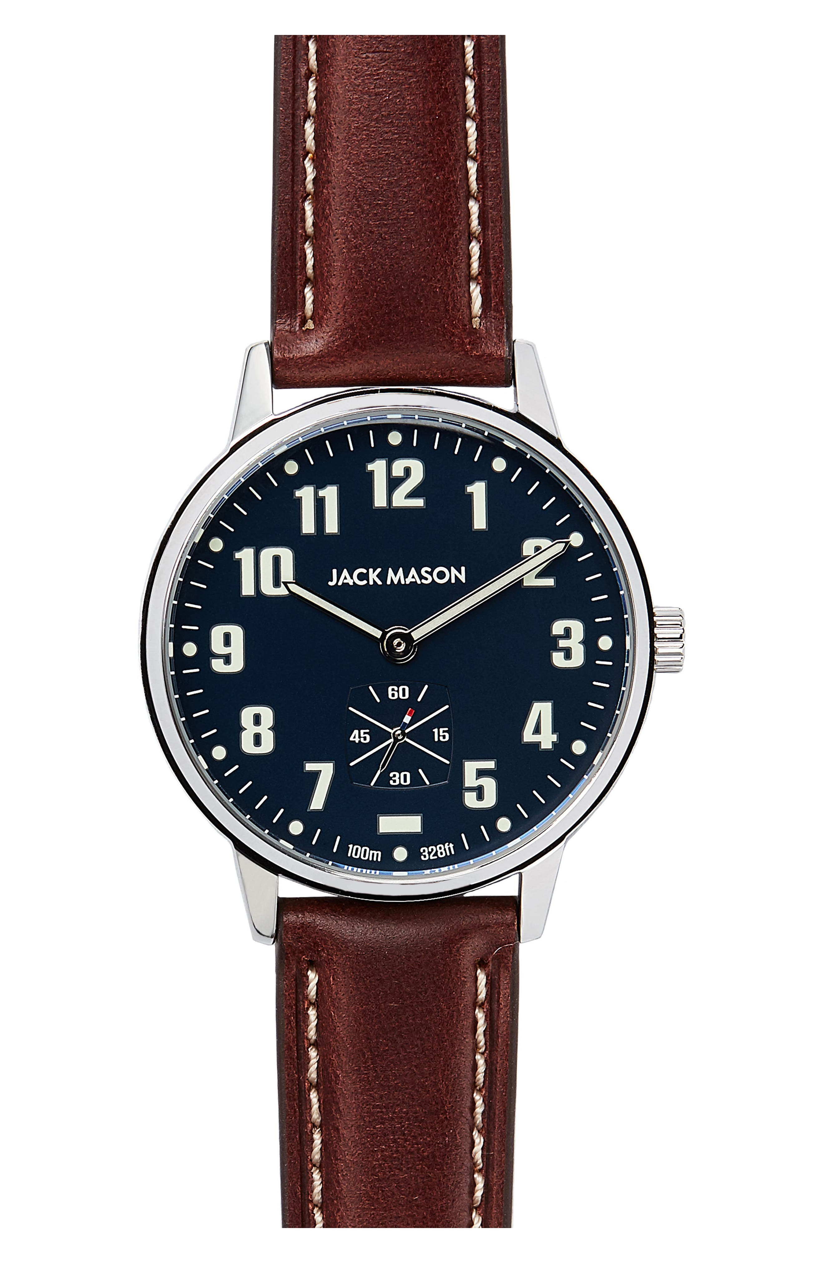 Field Leather Strap Watch, 38mm,                         Main,                         color, NAVY/ DARK BROWN
