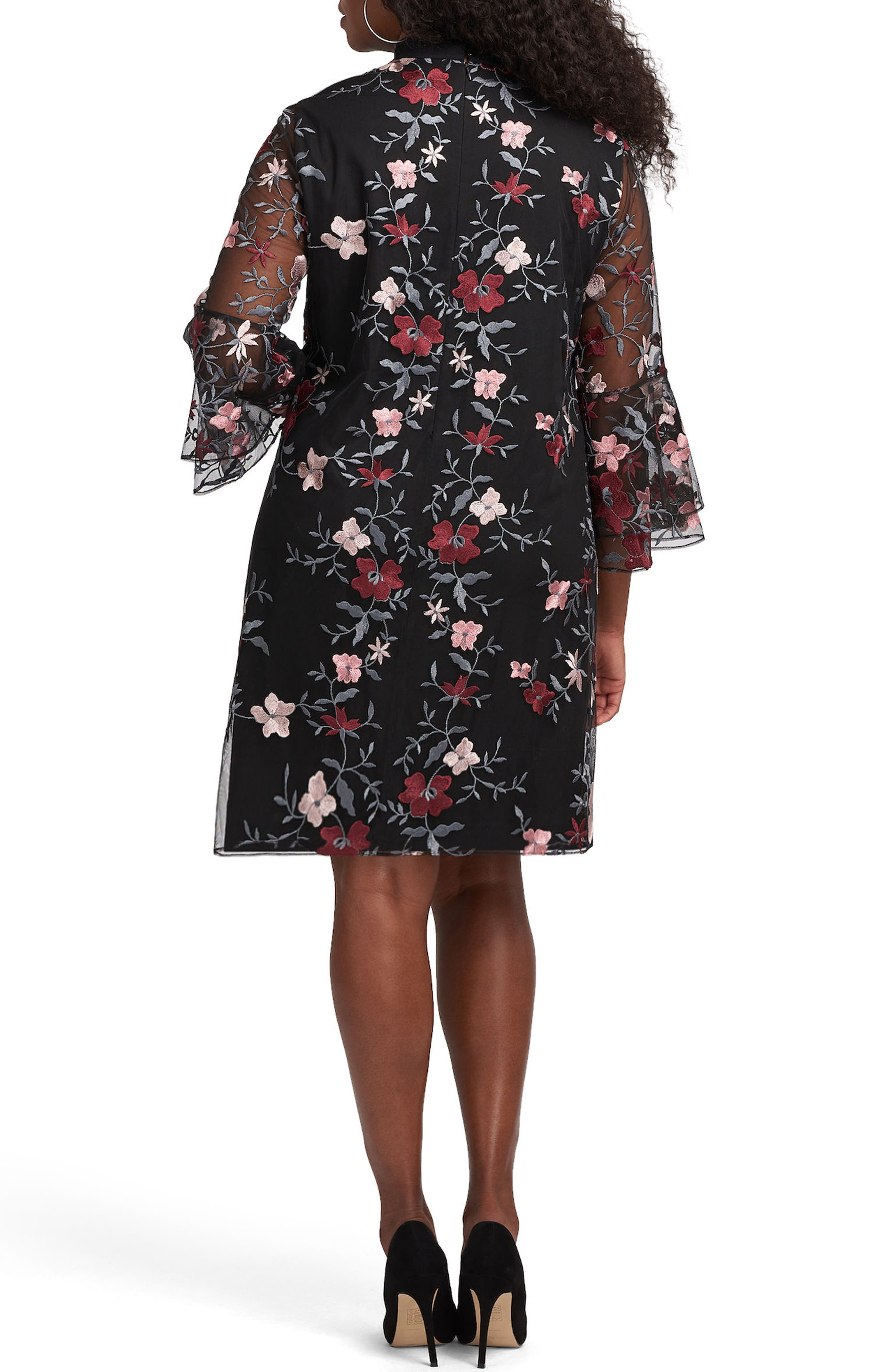 Floral Embroidered Mesh A-Line Dress,                             Alternate thumbnail 2, color,                             018