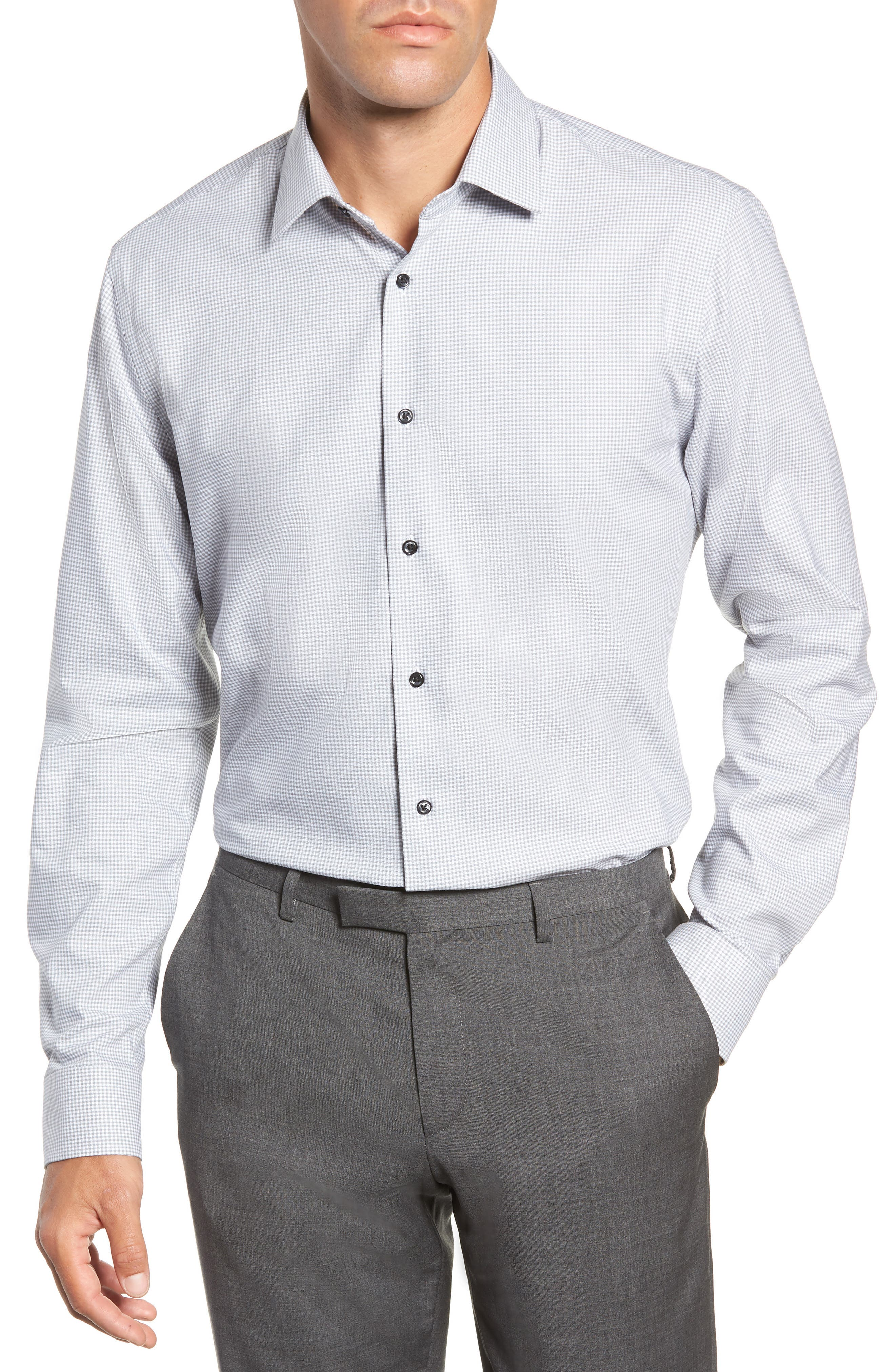 Tech-Smart Trim Fit Stretch Check Dress Shirt,                         Main,                         color, GREY SLEET