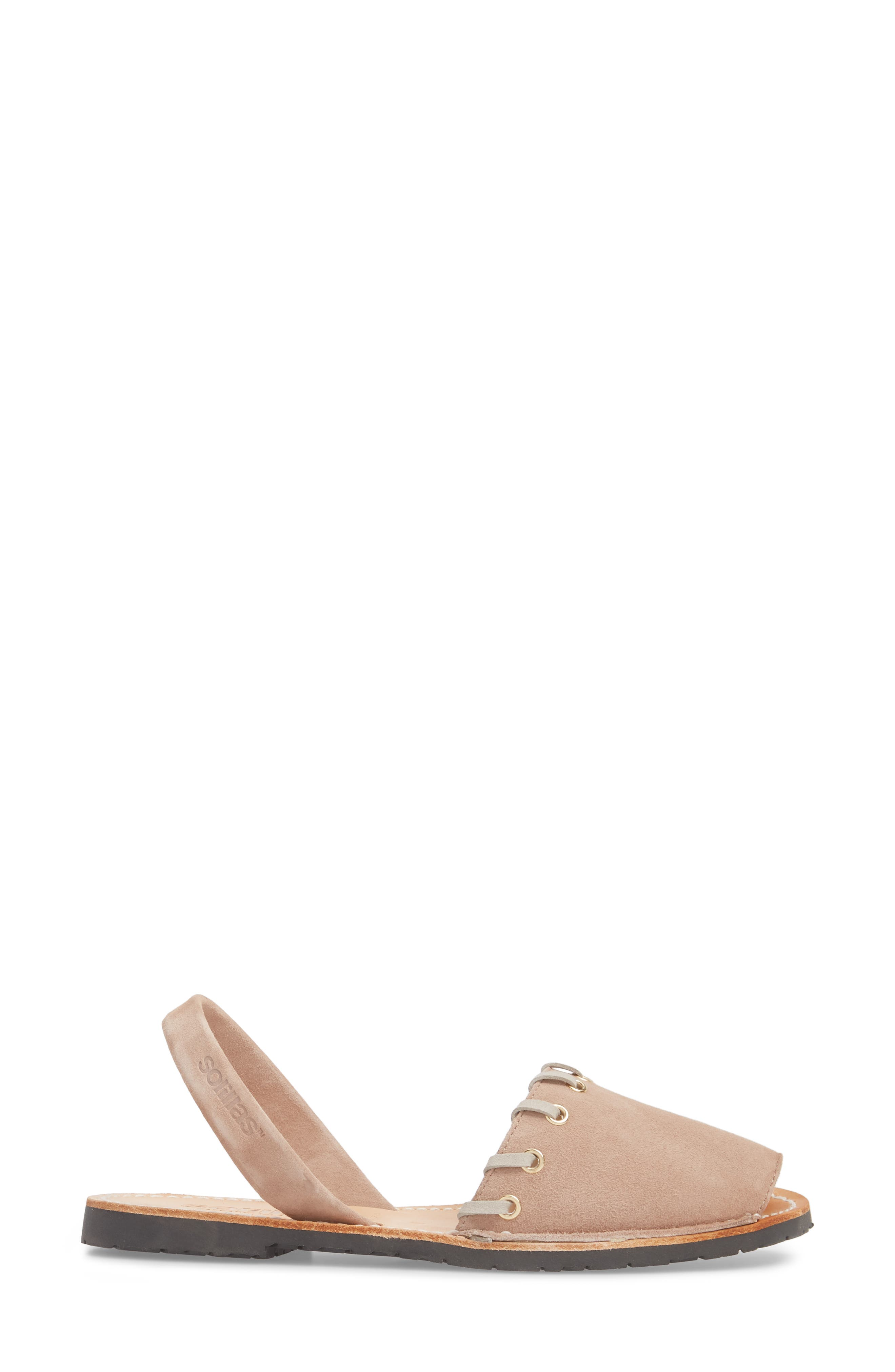 Whipstitched Flat Sandal,                             Alternate thumbnail 3, color,                             060