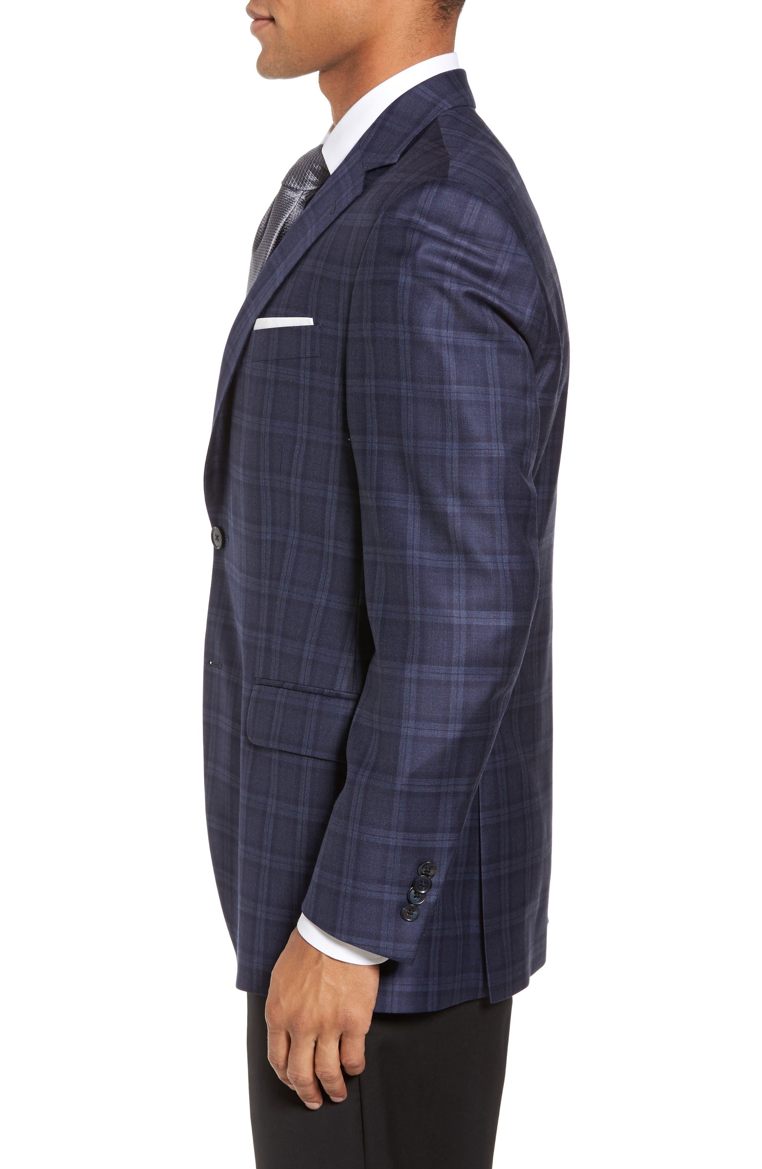 Classic Fit Windowpane Wool Sport Coat,                             Alternate thumbnail 3, color,