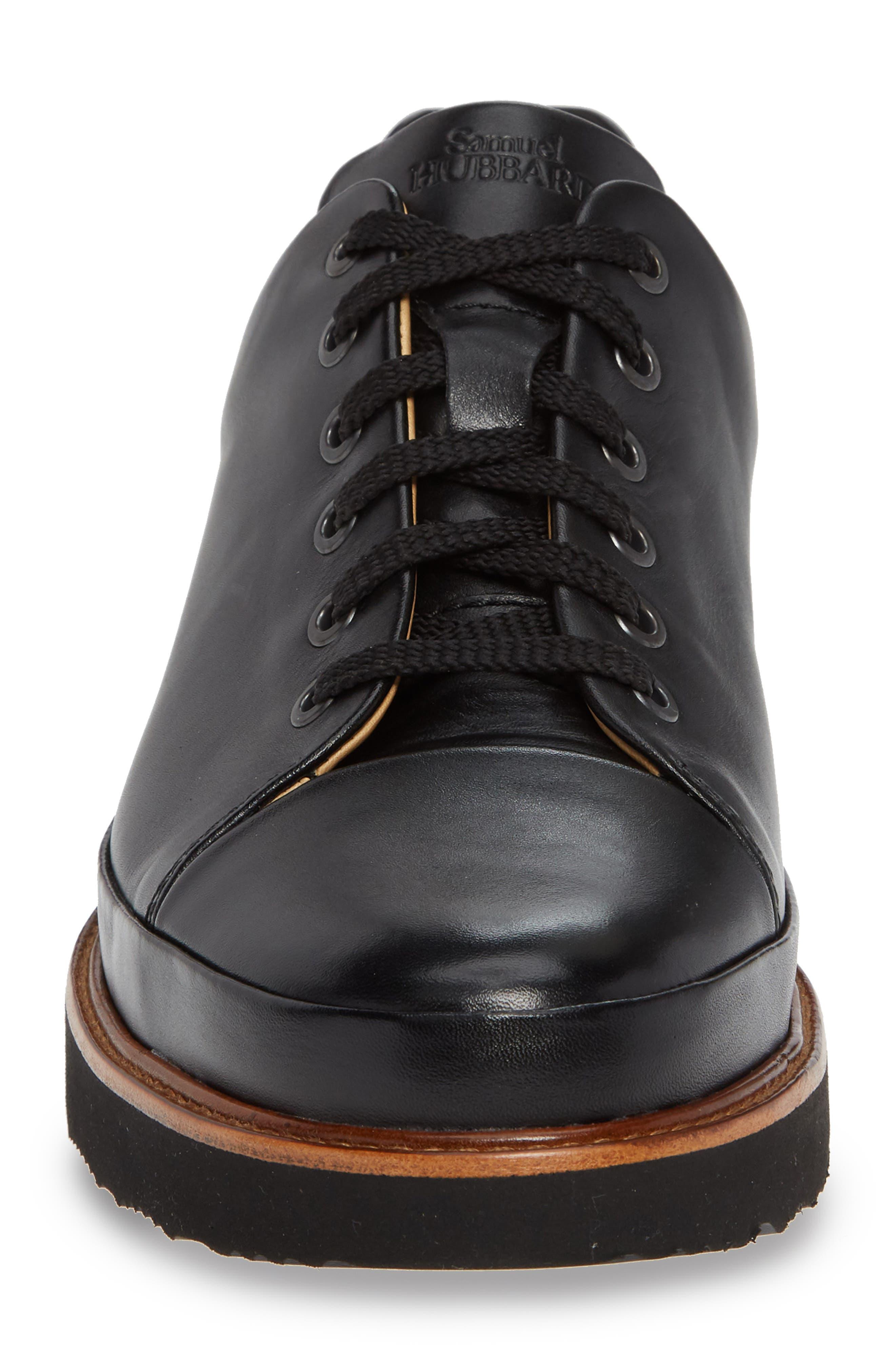 Dress Fast Plain Toe Oxford,                             Alternate thumbnail 4, color,                             BLACK/ BLACK