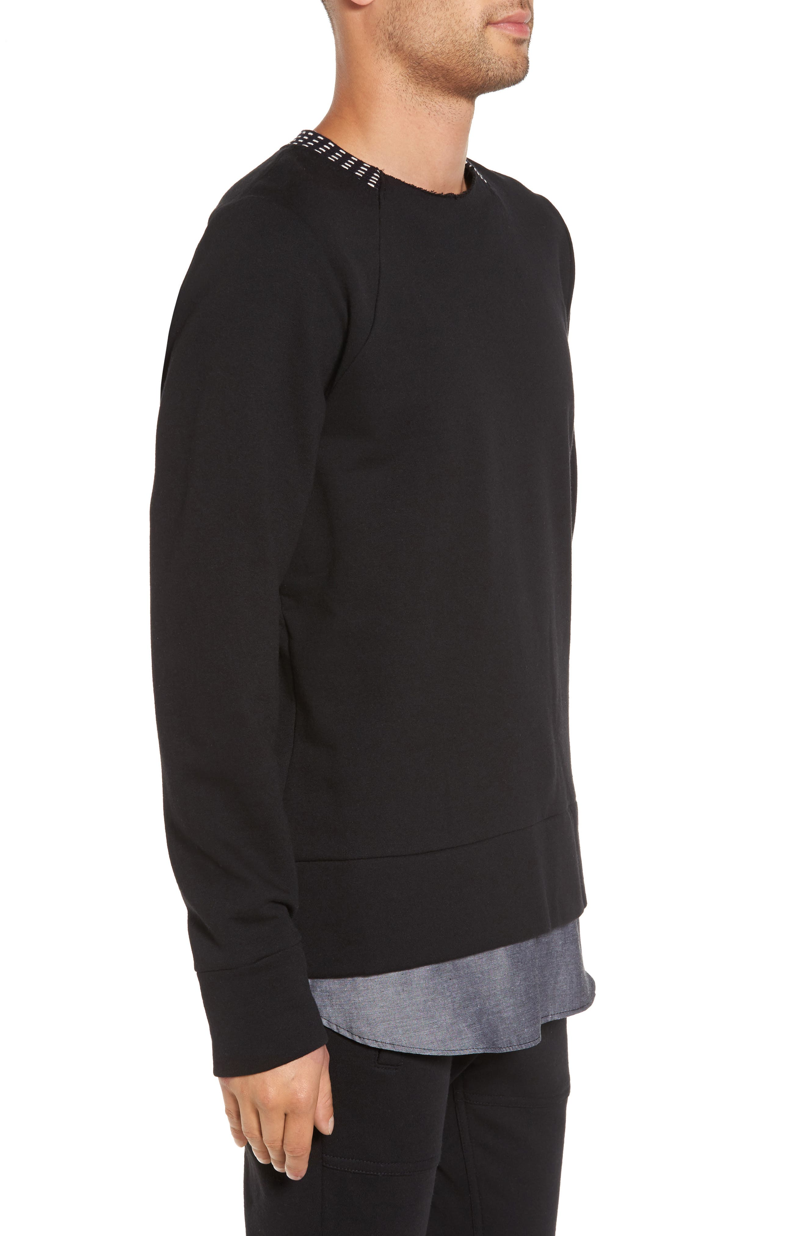 Double Layer Pullover,                             Alternate thumbnail 3, color,                             001