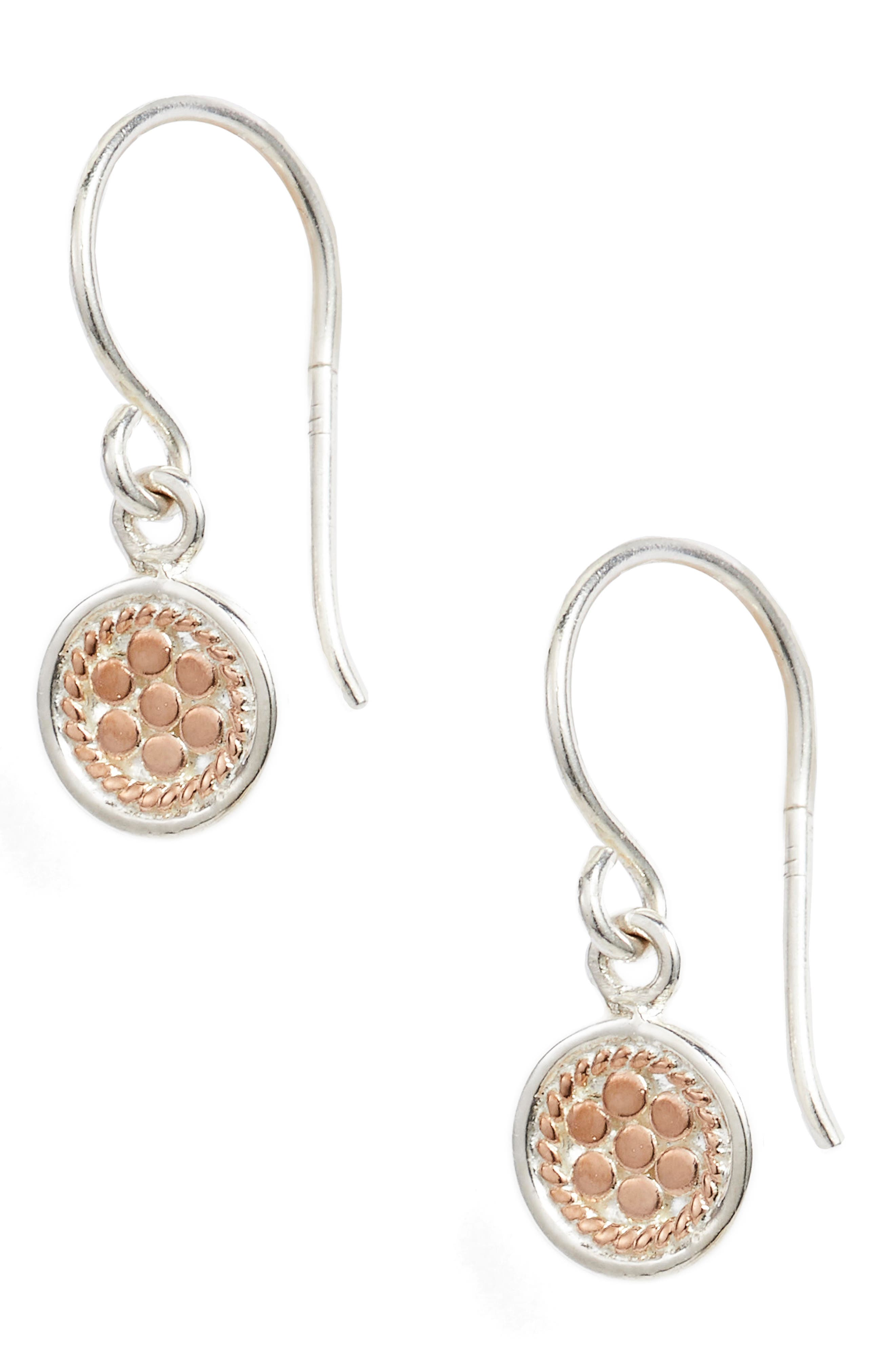 Petite Disc Drop Earrings,                         Main,                         color, ROSE GOLD/ SILVER