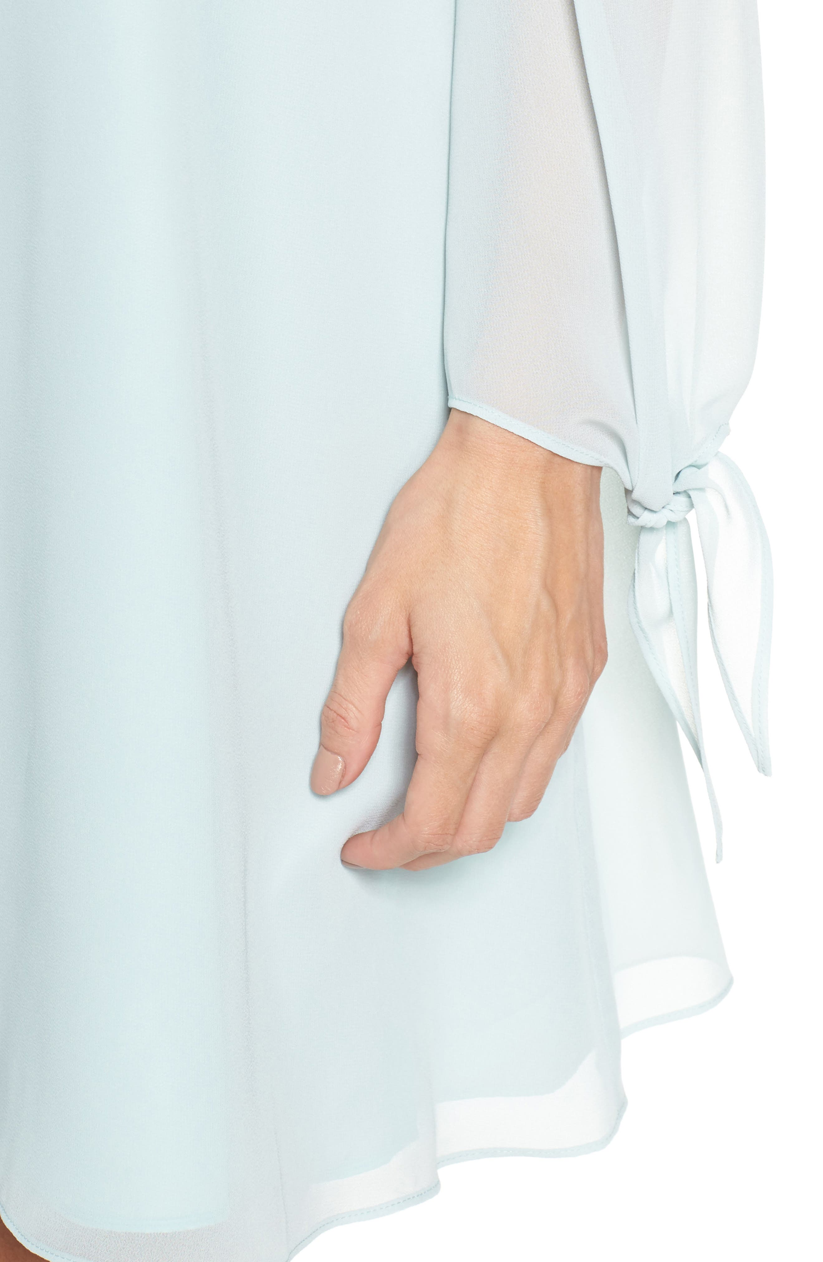 Off the Shoulder Tie-Cuff Shift Dress,                             Alternate thumbnail 4, color,                             COOL MINT