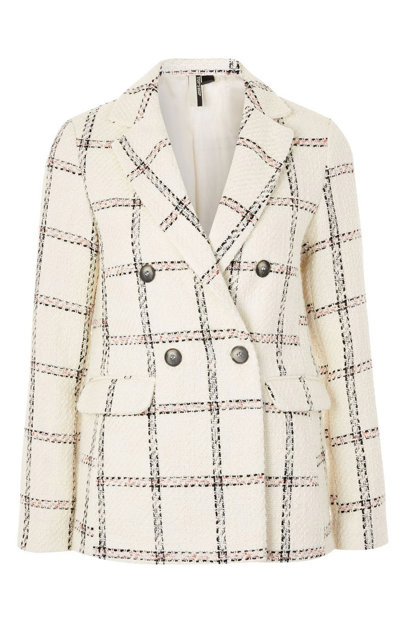 TOPSHOP,                             Check Double Breasted Blazer,                             Alternate thumbnail 4, color,                             900