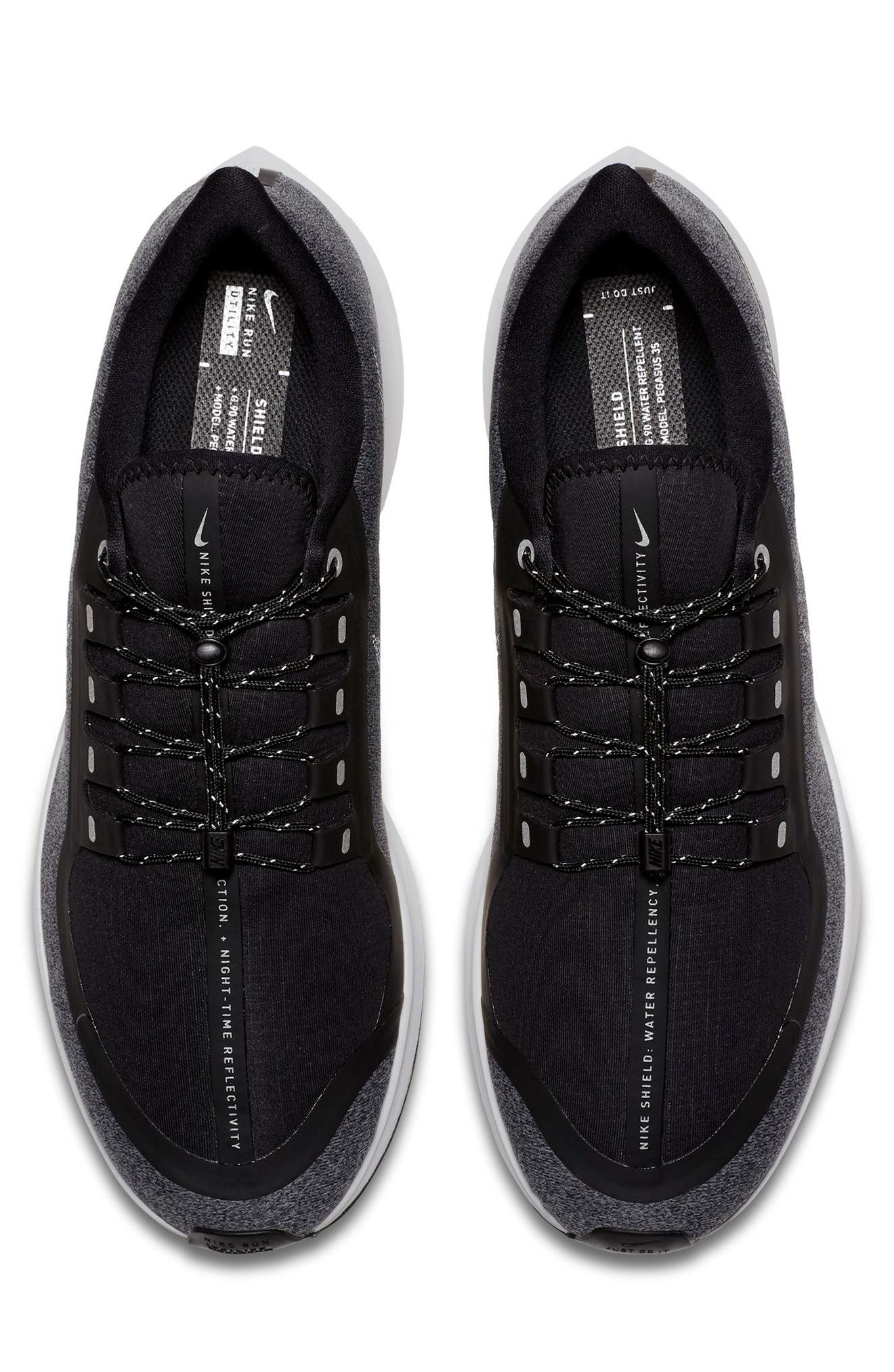 Air Zoom Pegasus 35 Shield Water Repellent Running Shoe,                             Alternate thumbnail 3, color,                             BLACK/ WHITE/ COOL GREY