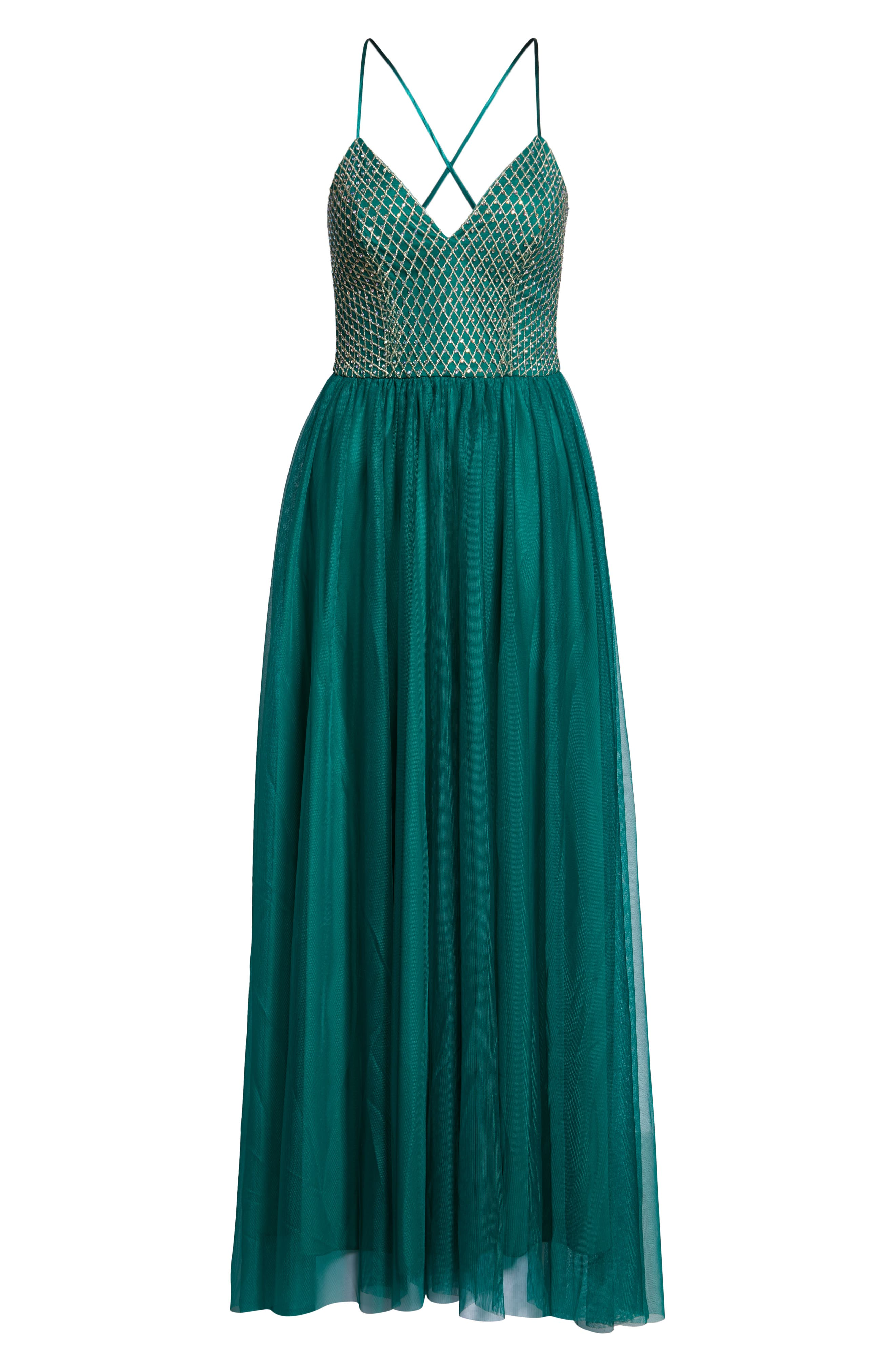 Embellished Bodice Gown,                             Alternate thumbnail 7, color,                             EVERGREEN