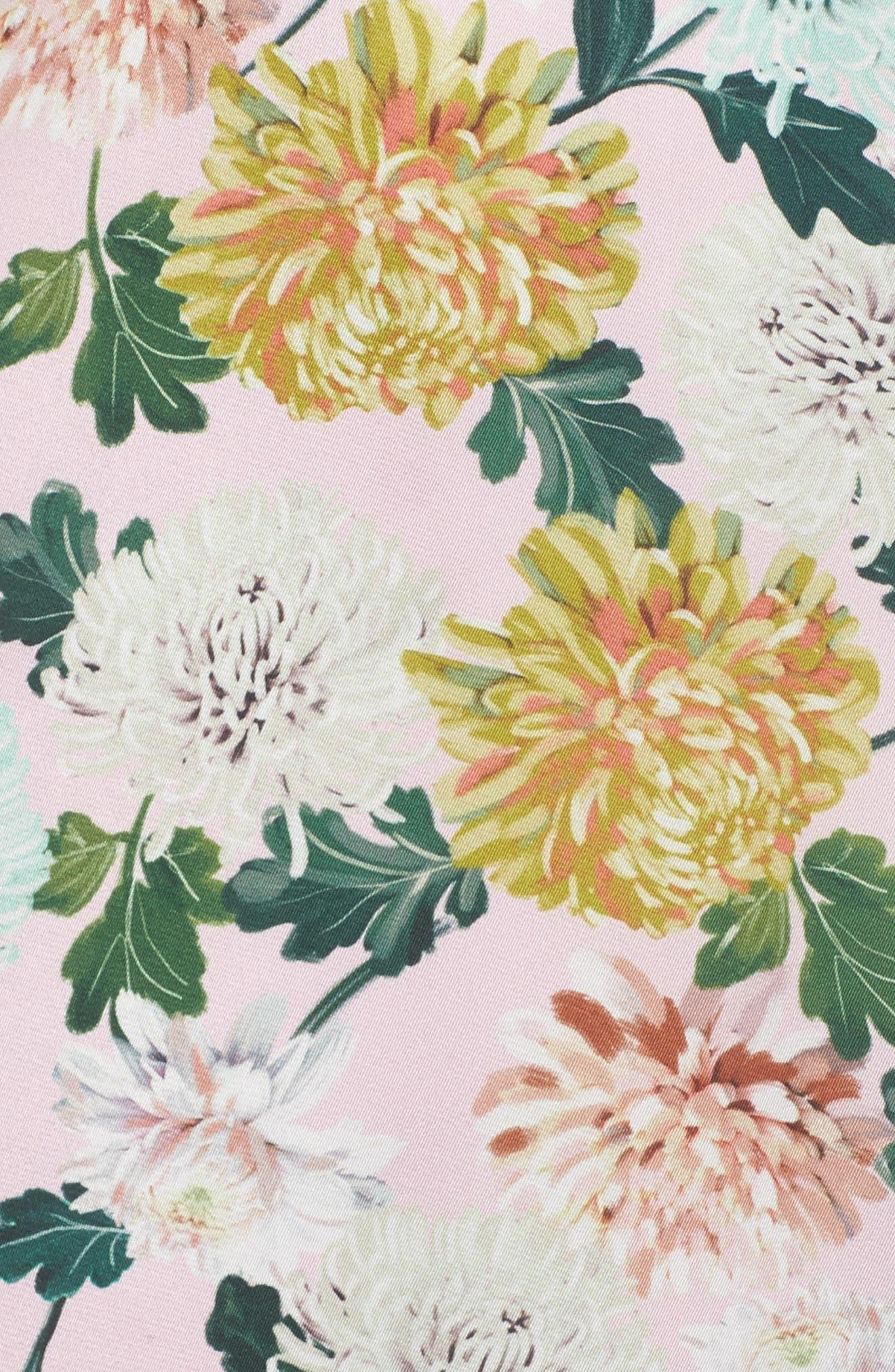 Vintage Floral Midi Dress,                             Alternate thumbnail 5, color,                             PINK MULTI