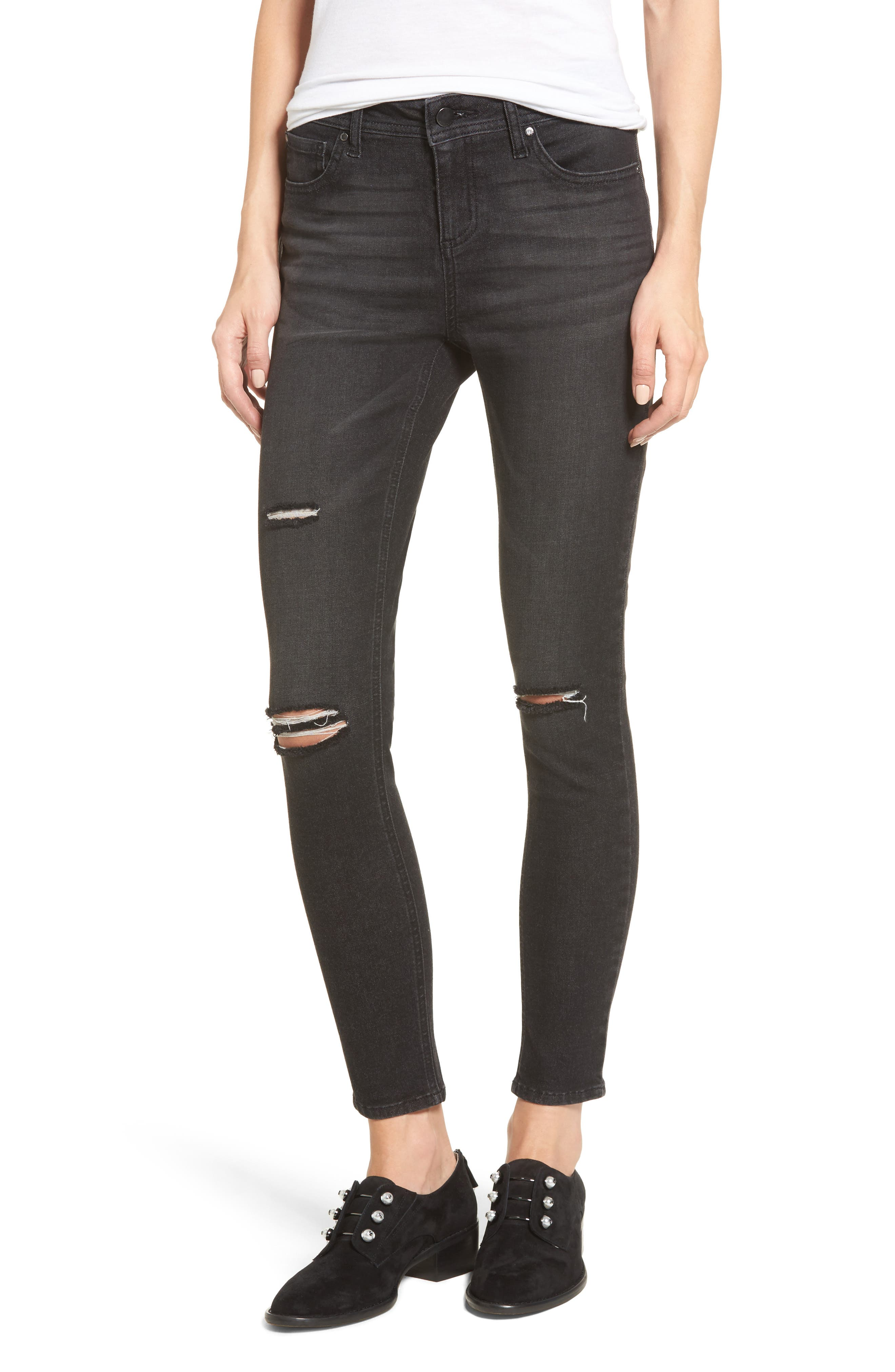 Ripped Skinny Jeans,                             Main thumbnail 1, color,                             001
