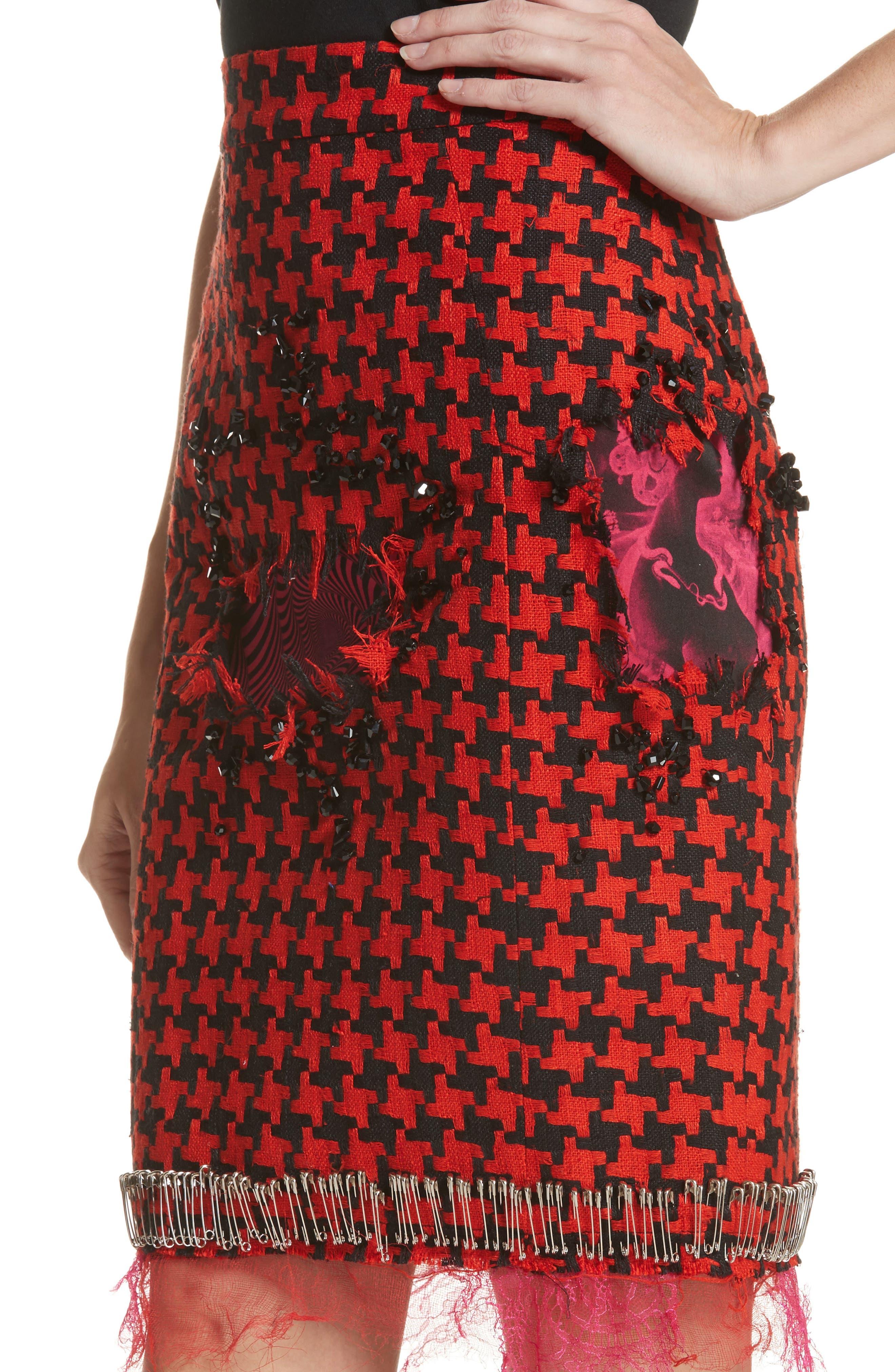 Prime Minister Houndstooth Wool Skirt,                             Alternate thumbnail 4, color,                             600