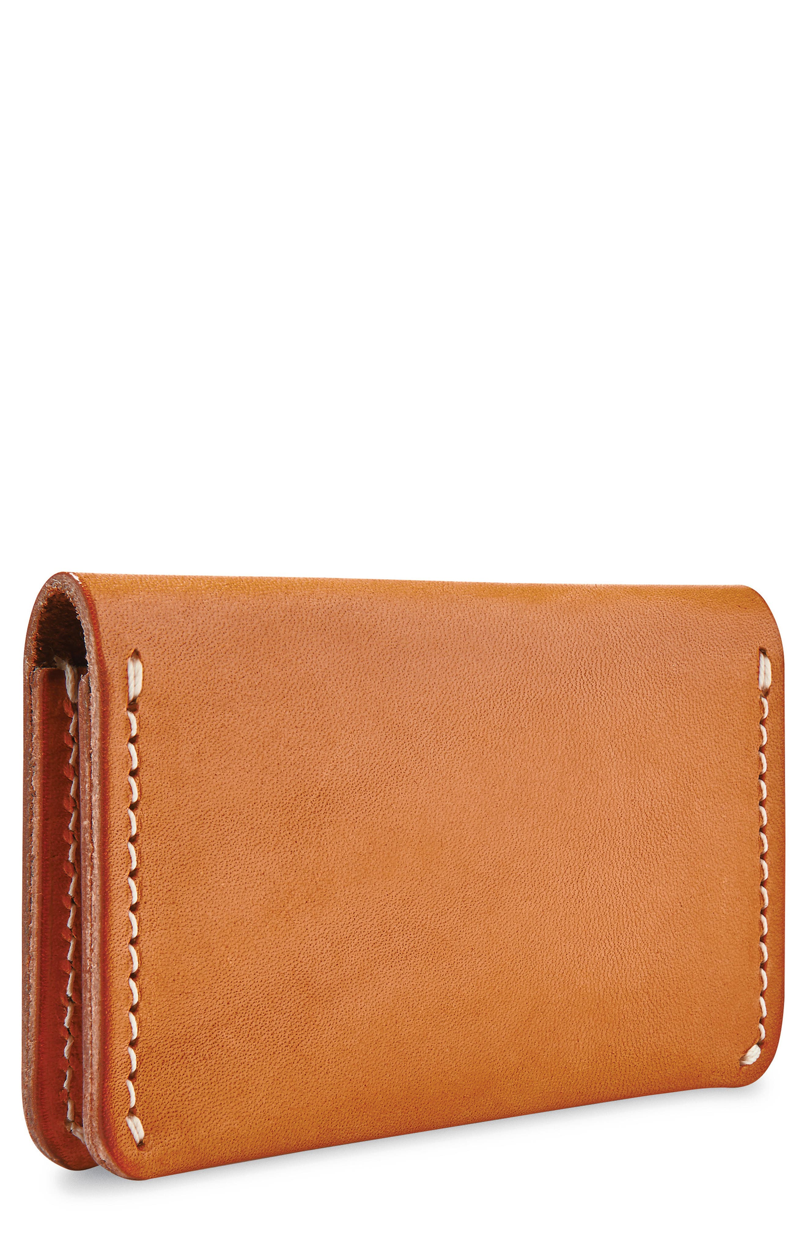 Leather Card Holder,                             Main thumbnail 1, color,                             TANNED VEGETABLE