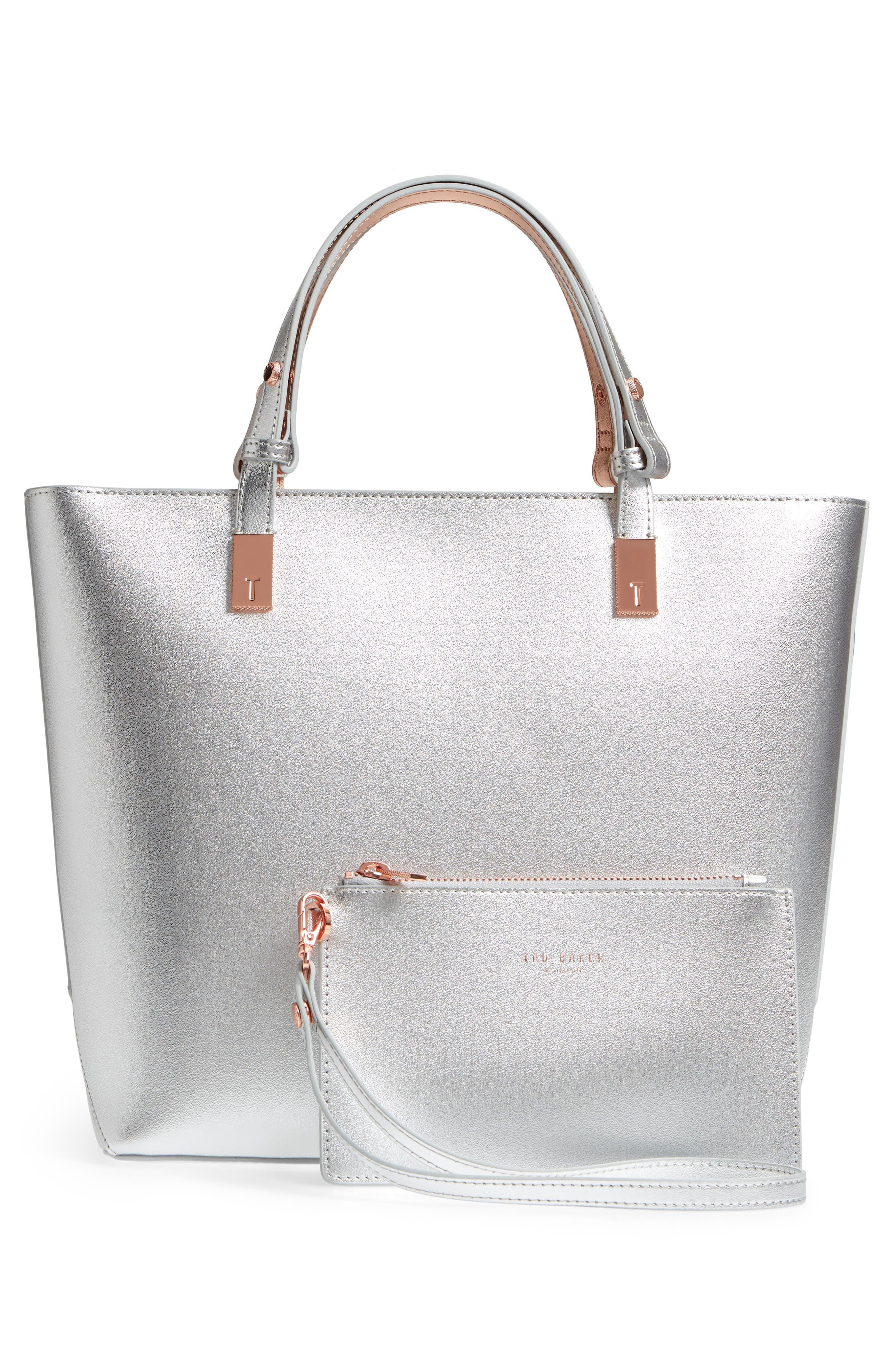 Adjustable Handle Leather Tote,                             Alternate thumbnail 4, color,                             SILVER