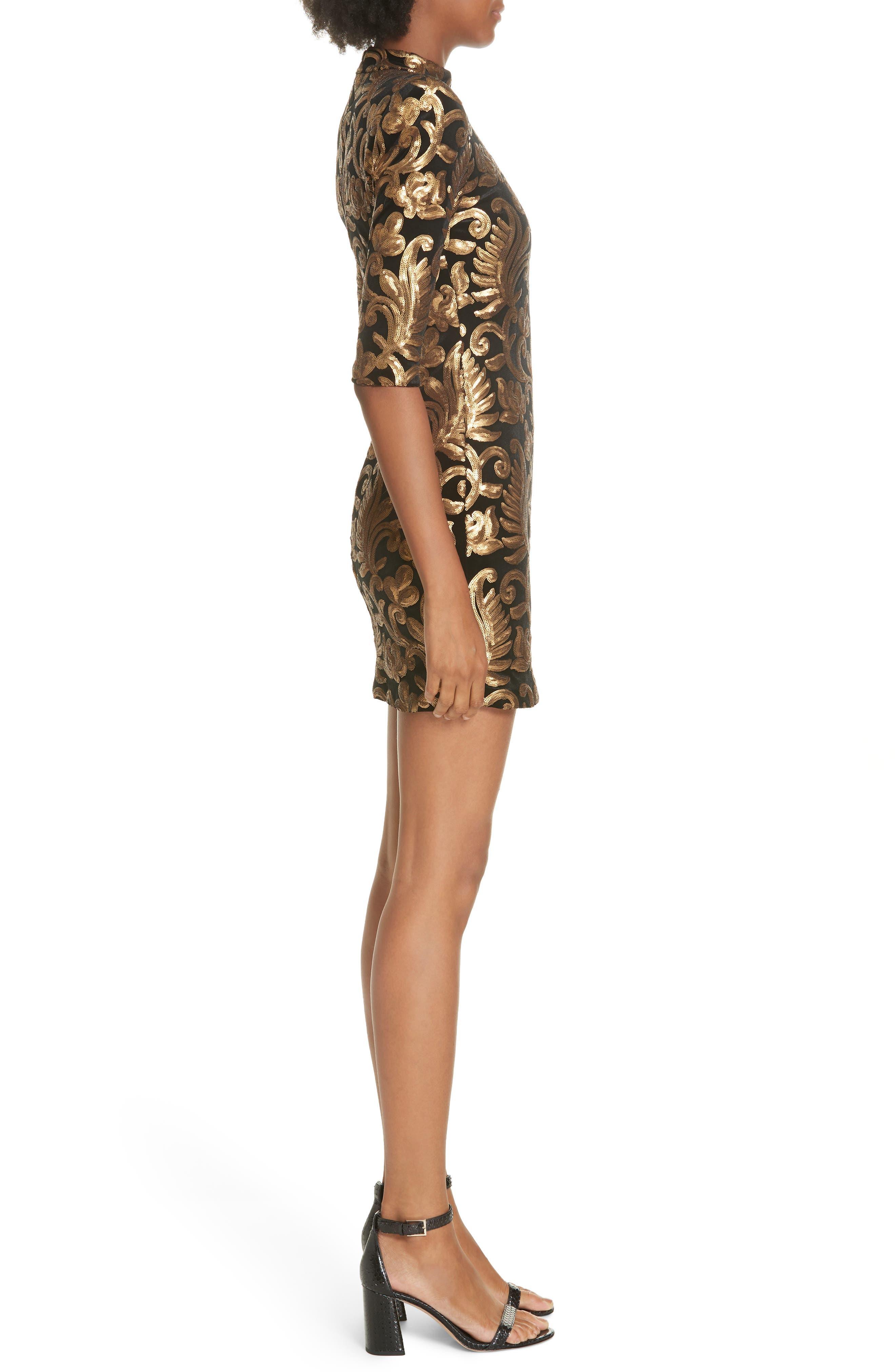 Inka Sequin Flora Dress,                             Alternate thumbnail 3, color,                             001