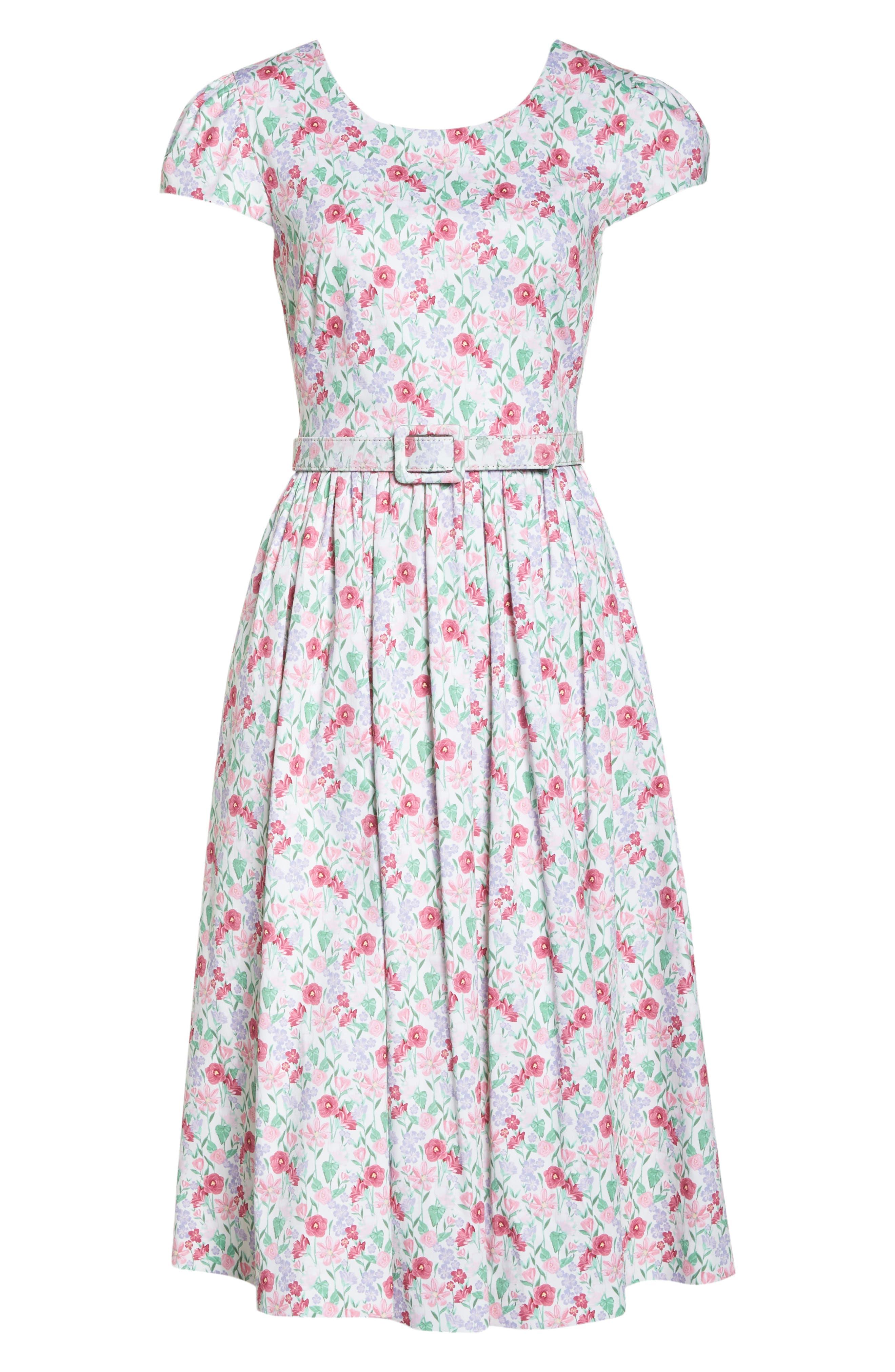 Packed Bouquet Print Stretch Cotton Dress,                             Alternate thumbnail 7, color,                             650