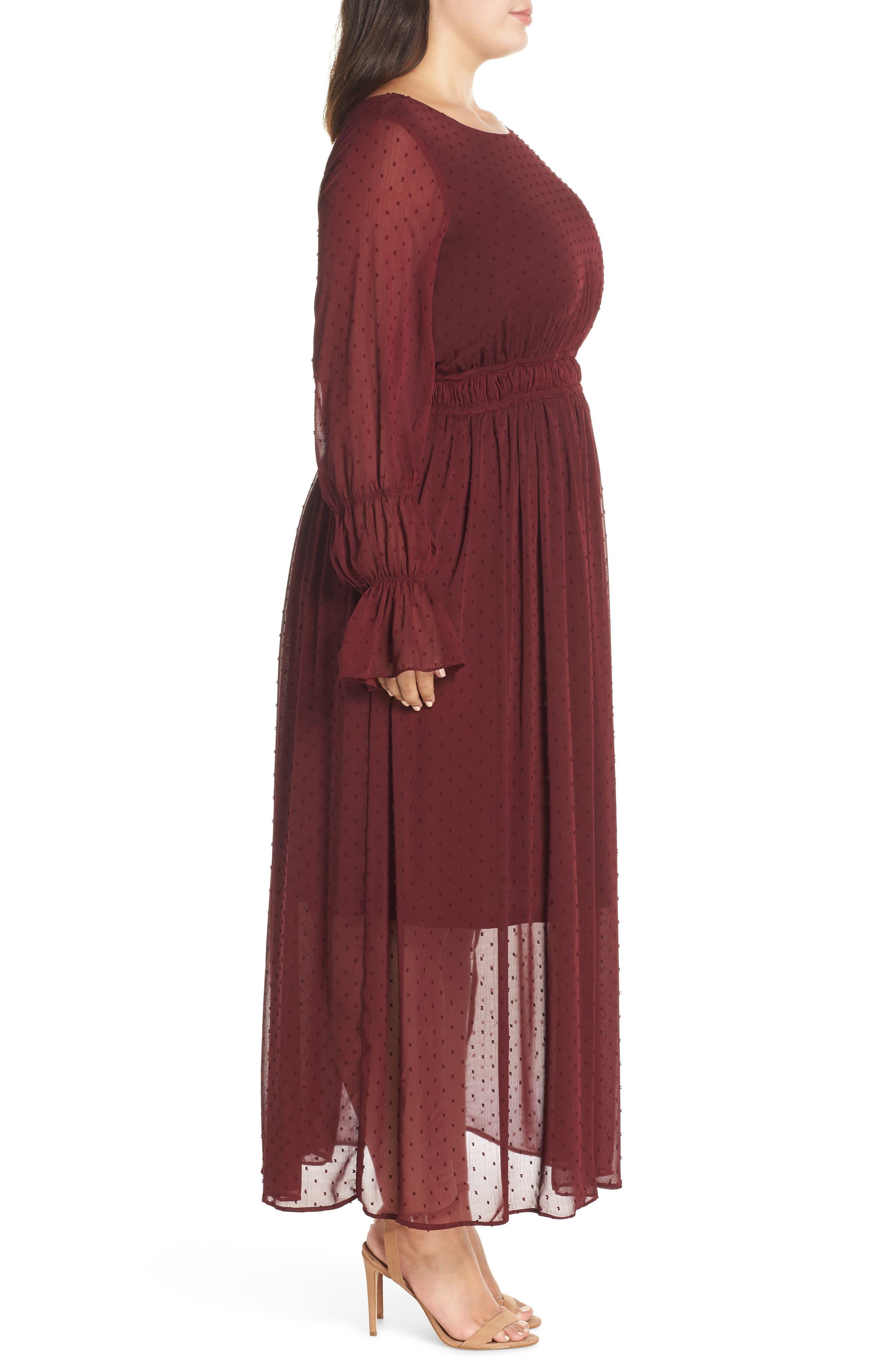 Dobby Maxi Dress,                             Alternate thumbnail 3, color,                             OXBLOOD