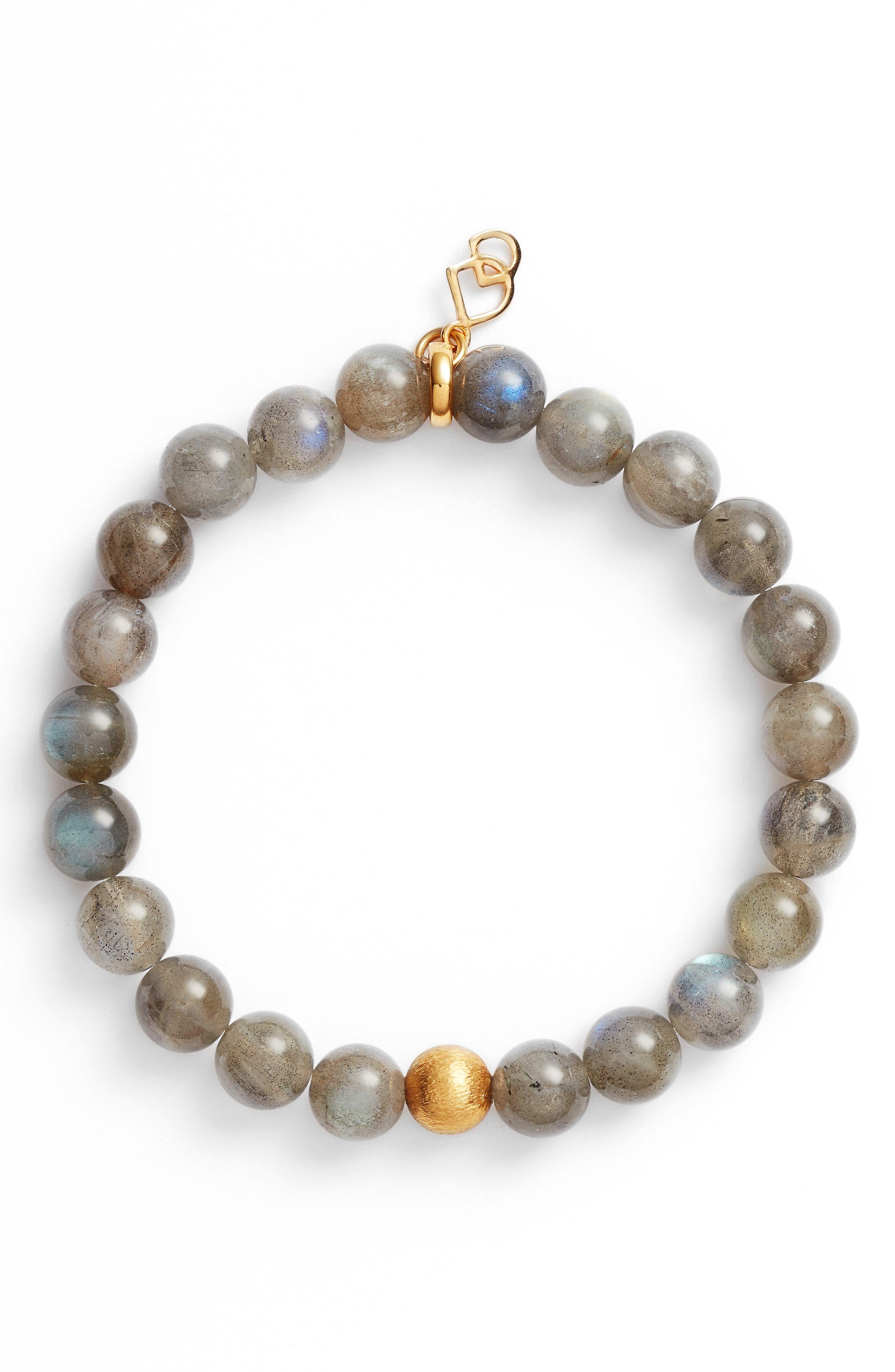 Sphere Semiprecious Stone Elastic Bracelet,                             Main thumbnail 1, color,                             LABRADORITE/ GOLD