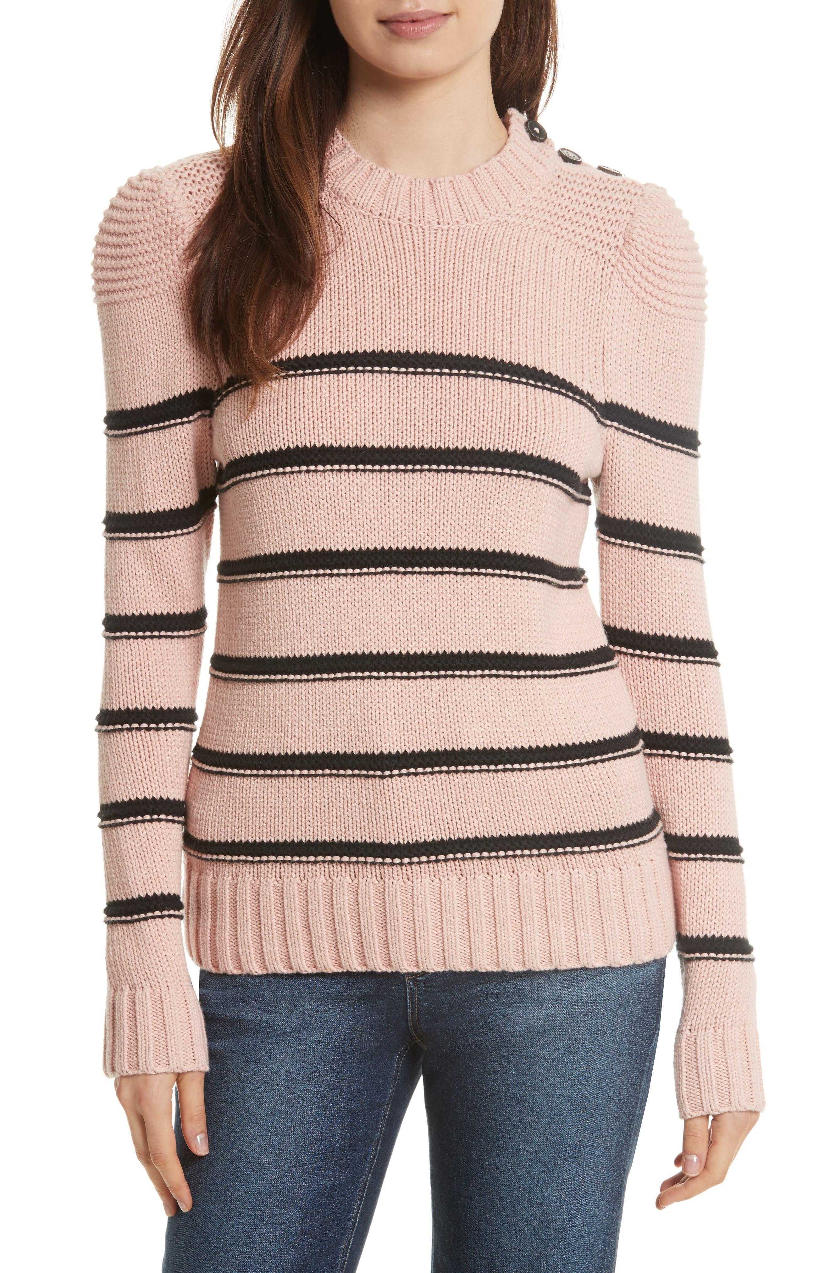 Stripe Cotton & Merino Wool Sweater,                         Main,                         color, 695
