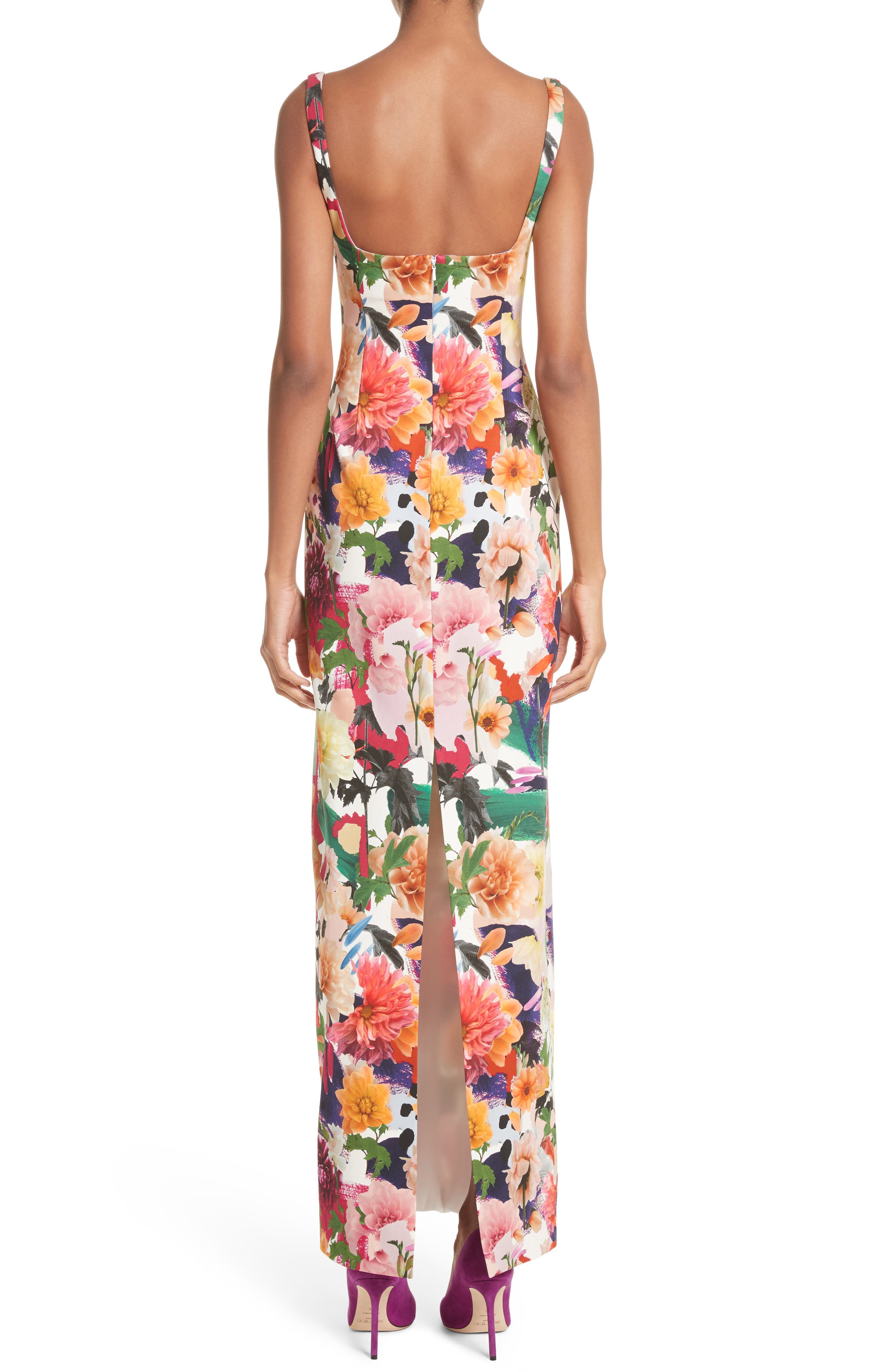 Floral Print Sheath Gown,                             Alternate thumbnail 2, color,                             191