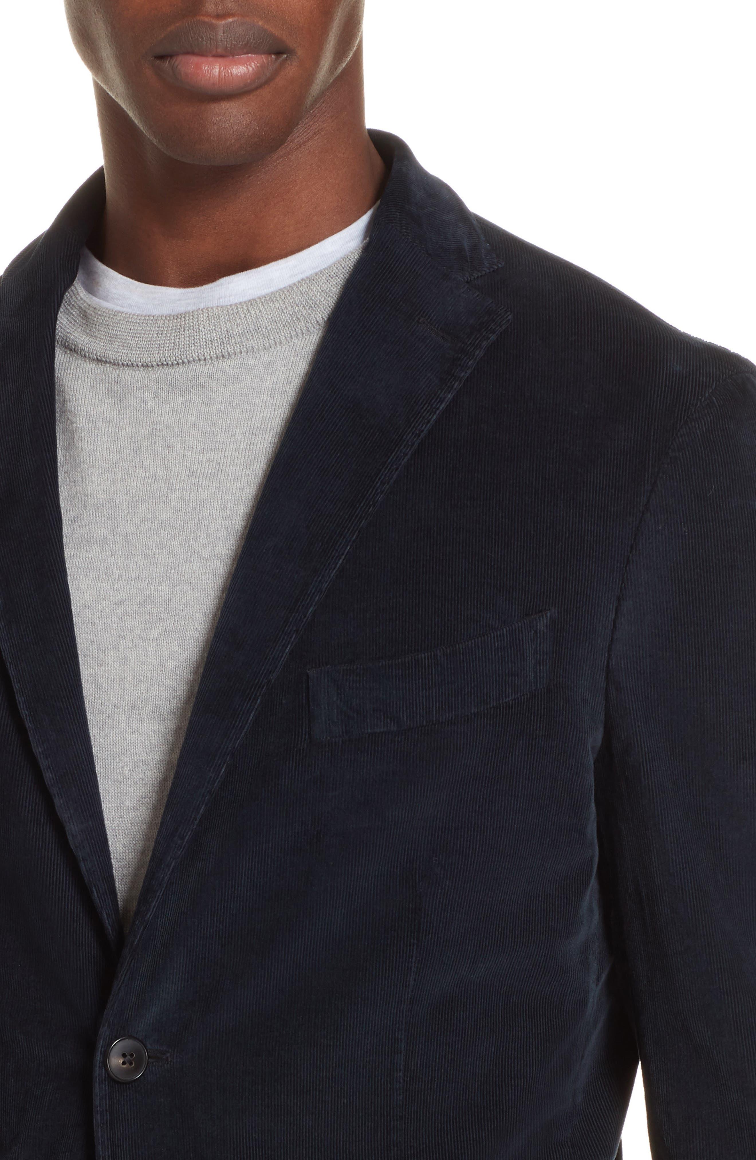 Trim Fit Stretch Corduroy Cotton Blazer,                             Alternate thumbnail 4, color,                             NAVY