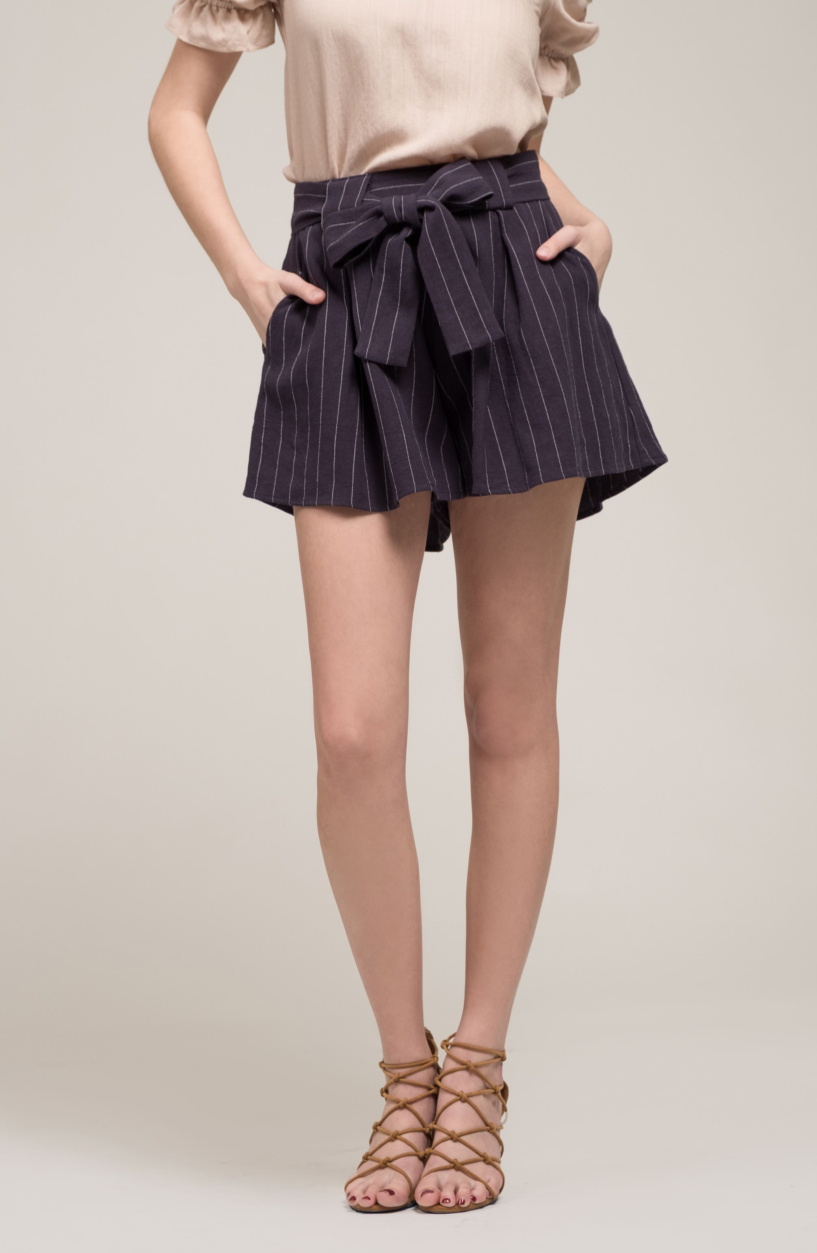Stripe Tie Waist Shorts,                             Alternate thumbnail 7, color,                             BLUE STRIPE