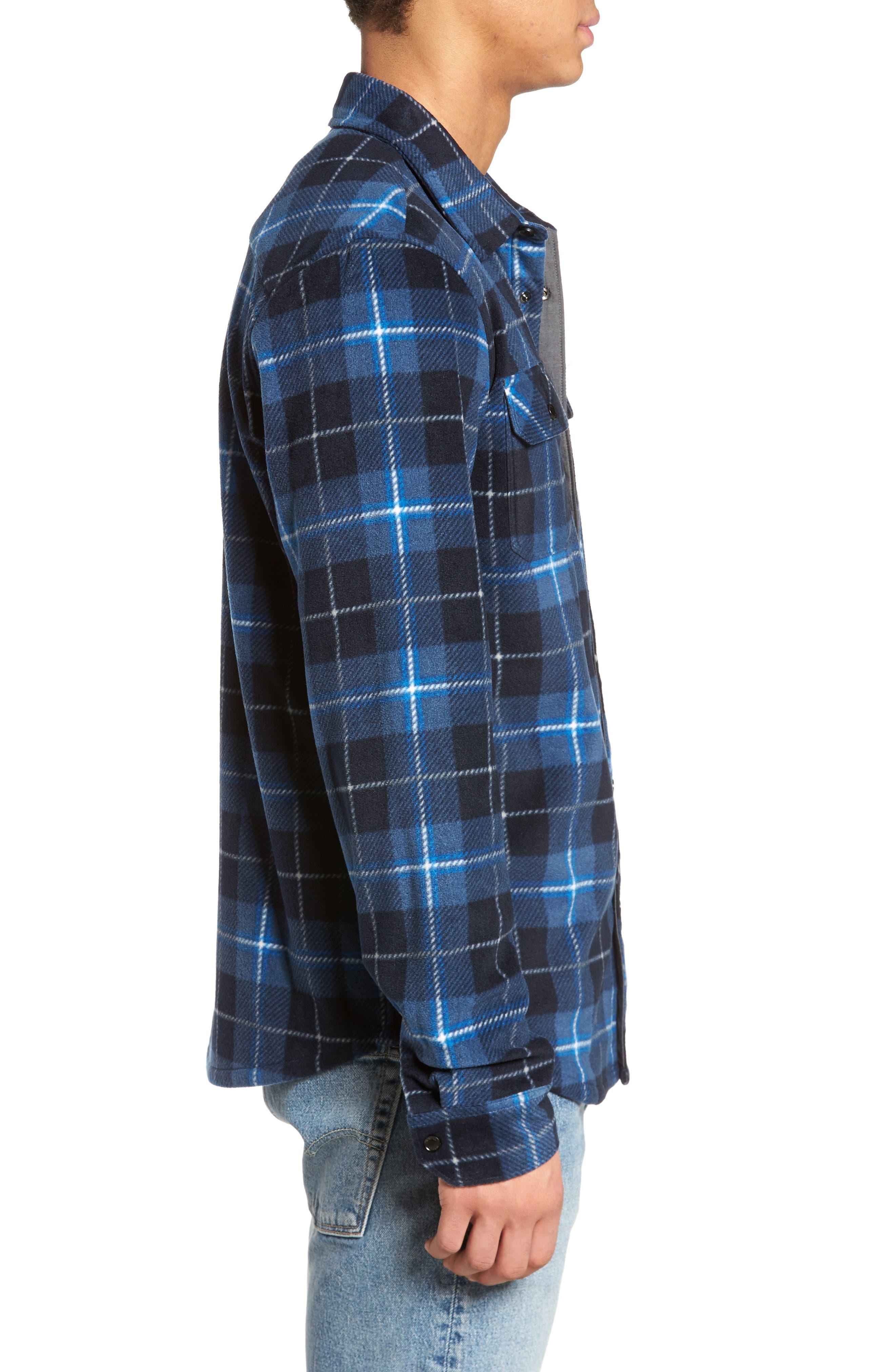 Glacier Plaid Fleece Flannel Shirt,                             Alternate thumbnail 12, color,