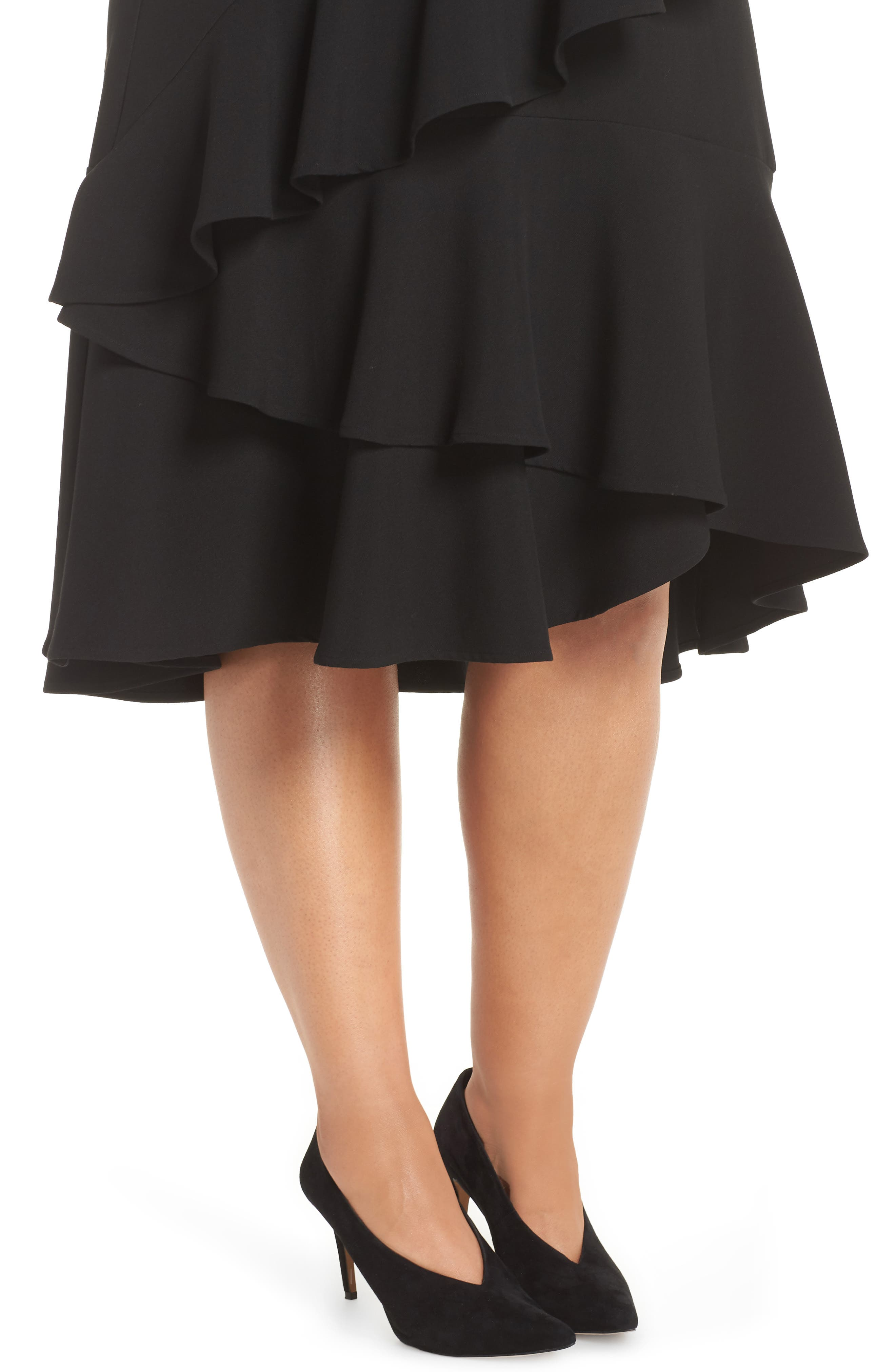 Tiered Ruffle Crepe Skirt,                             Alternate thumbnail 4, color,                             RICH BLACK
