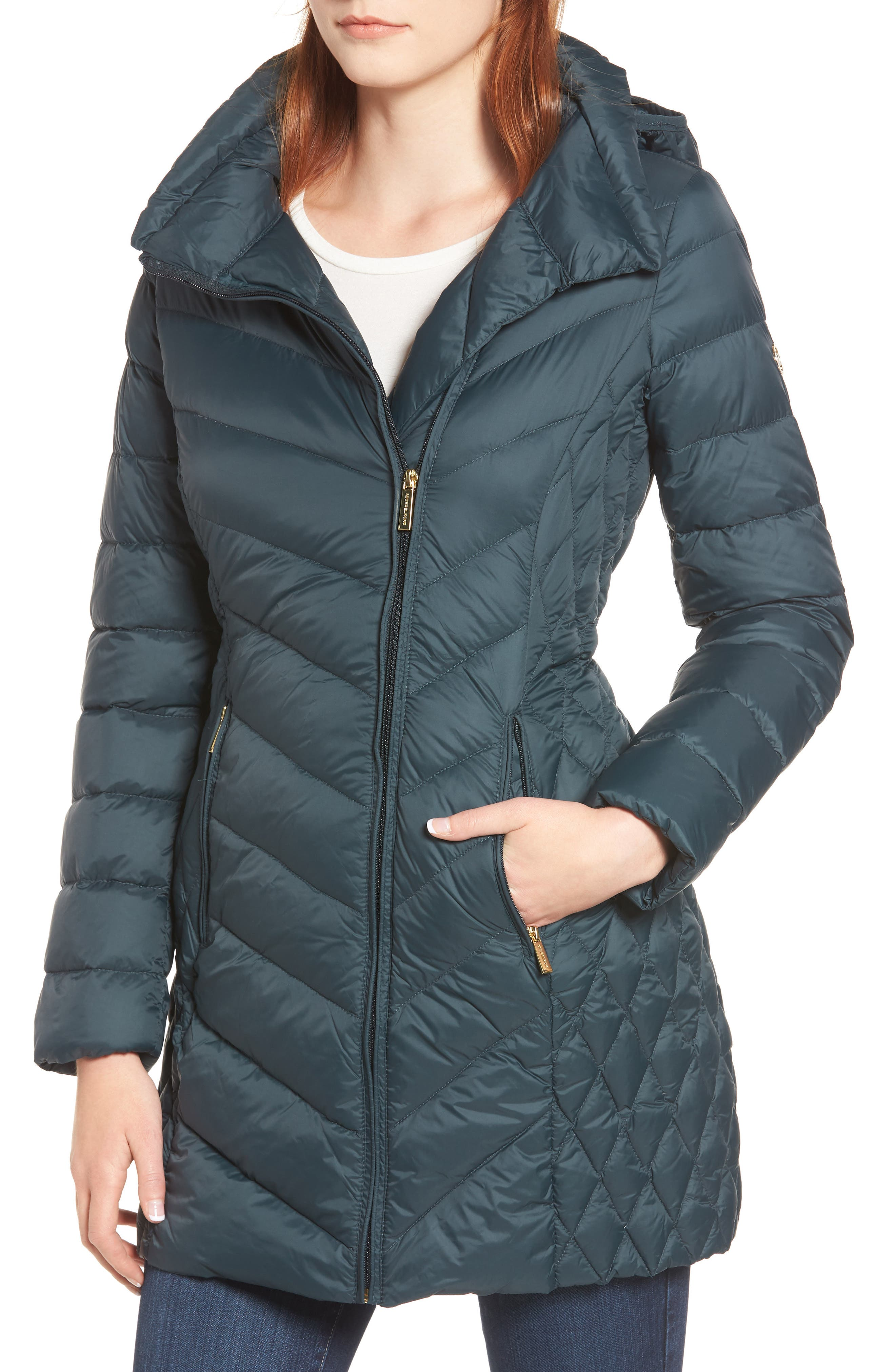Michael Michael Kors Packable Down Hooded Jacket, Green