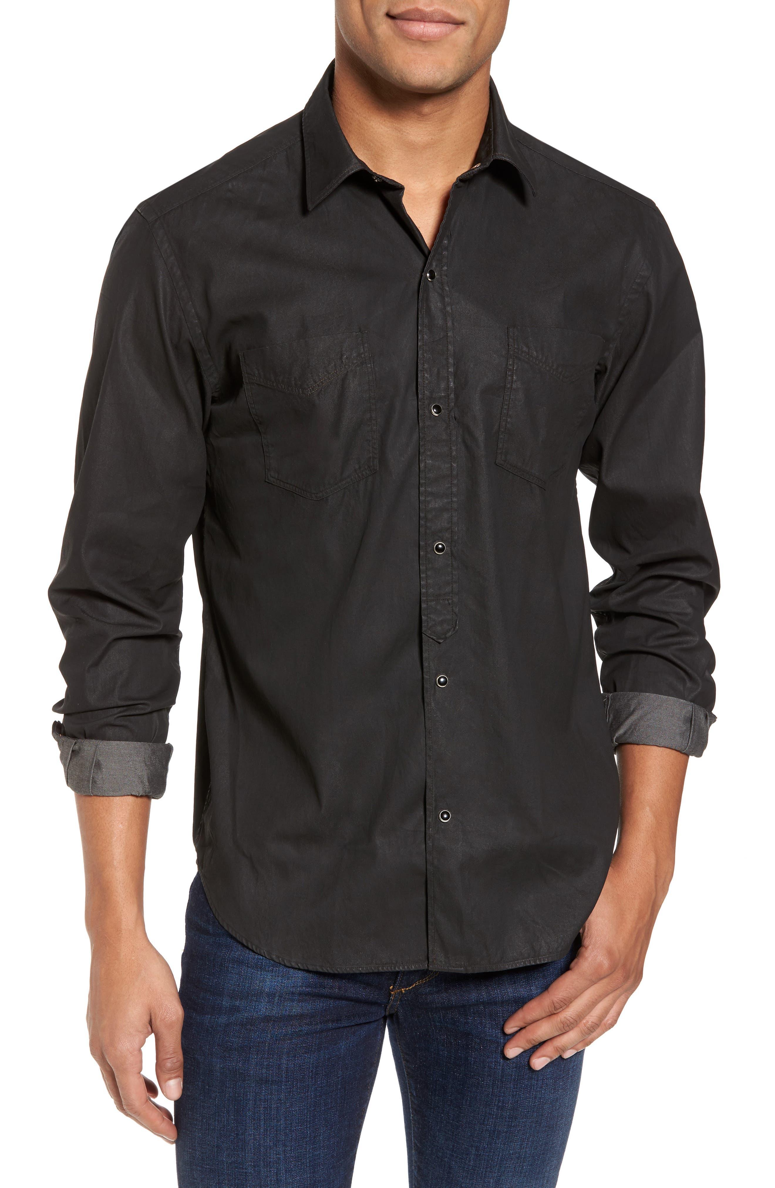 Trim Fit Resin Wash Denim Shirt,                             Main thumbnail 1, color,