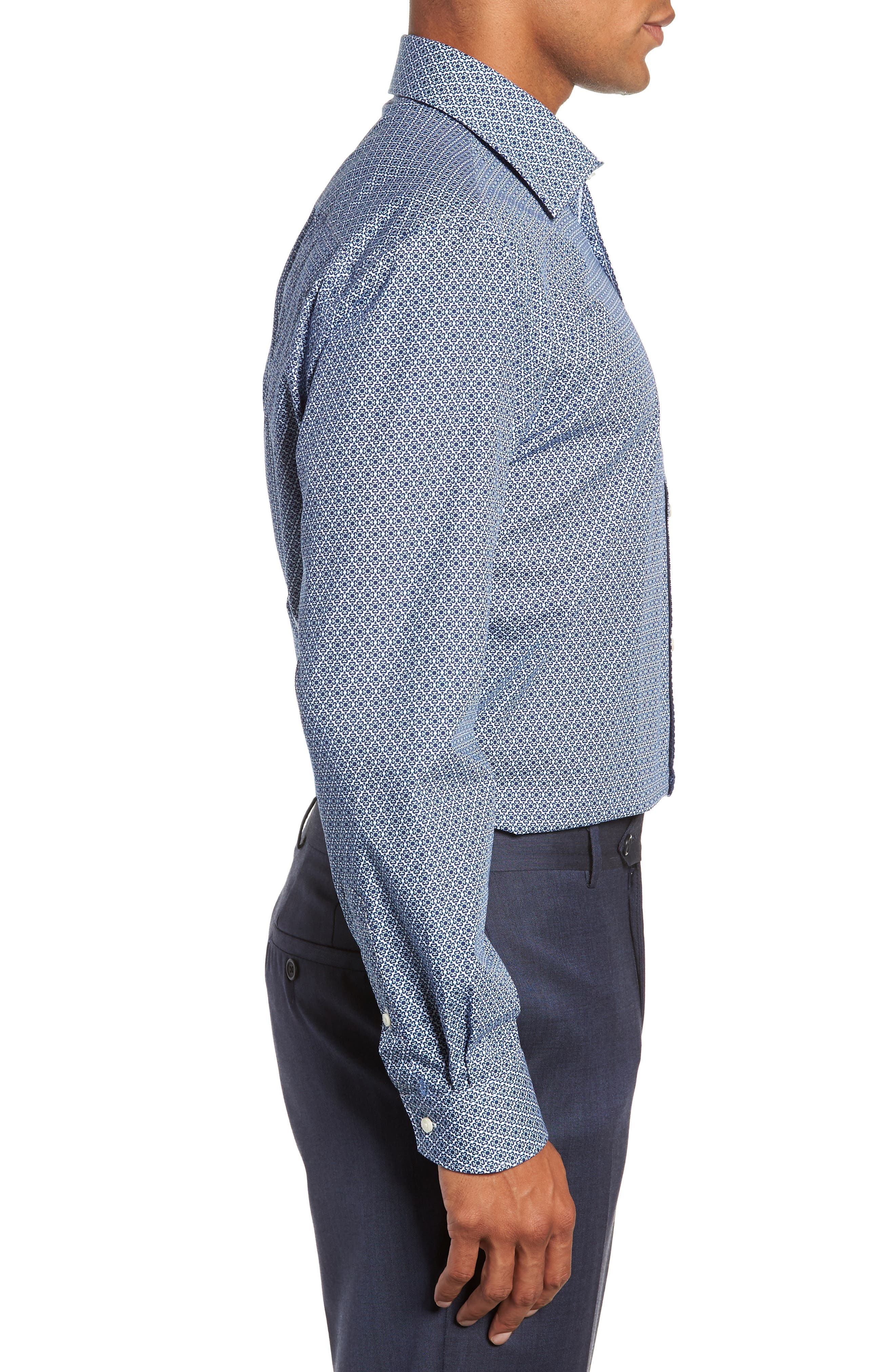 Slestmi Slim Fit Print Dress Shirt,                             Alternate thumbnail 4, color,                             BLUE