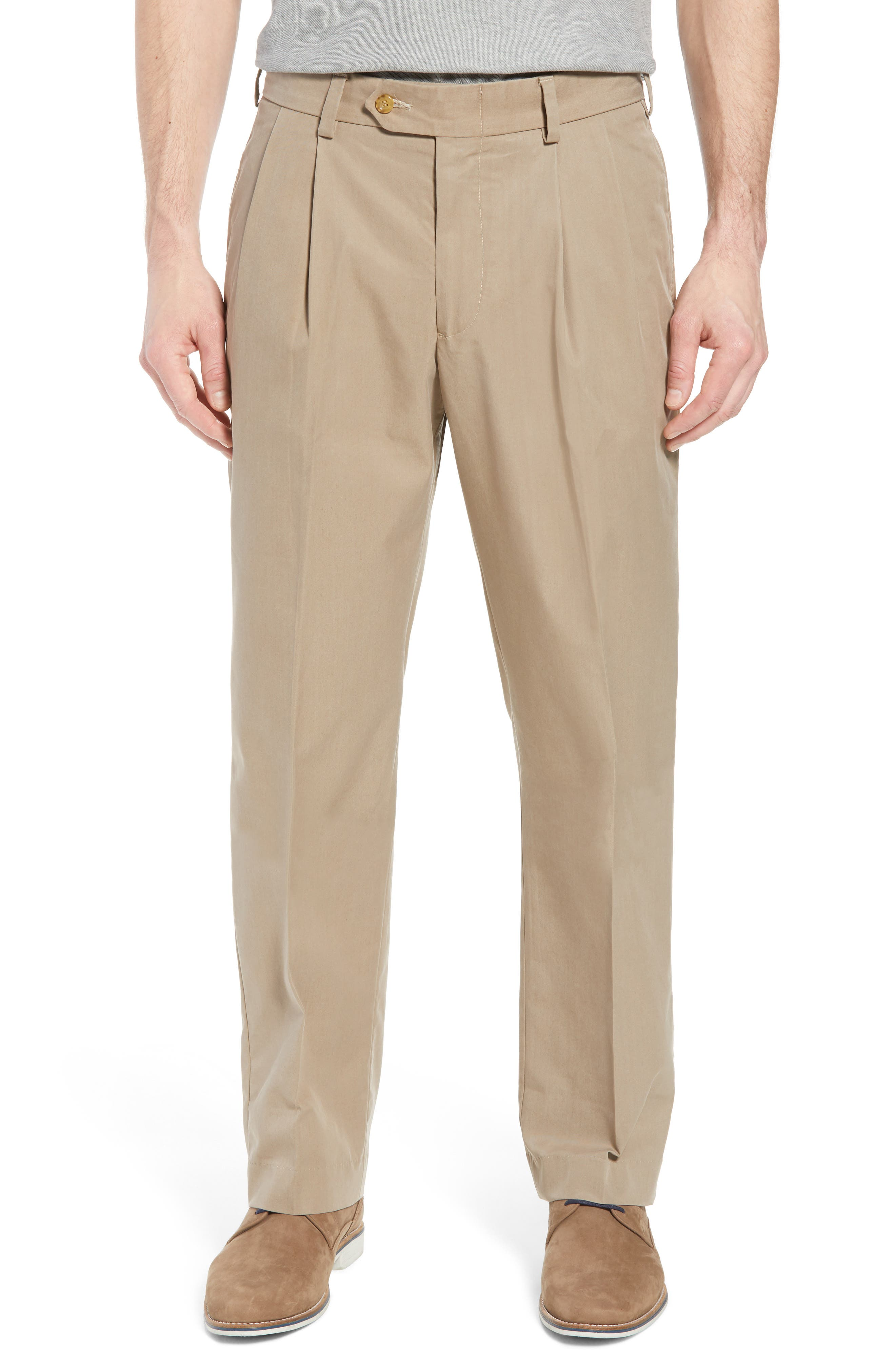 M2 Classic Fit Pleated Travel Twill Pants,                         Main,                         color, KHAKI