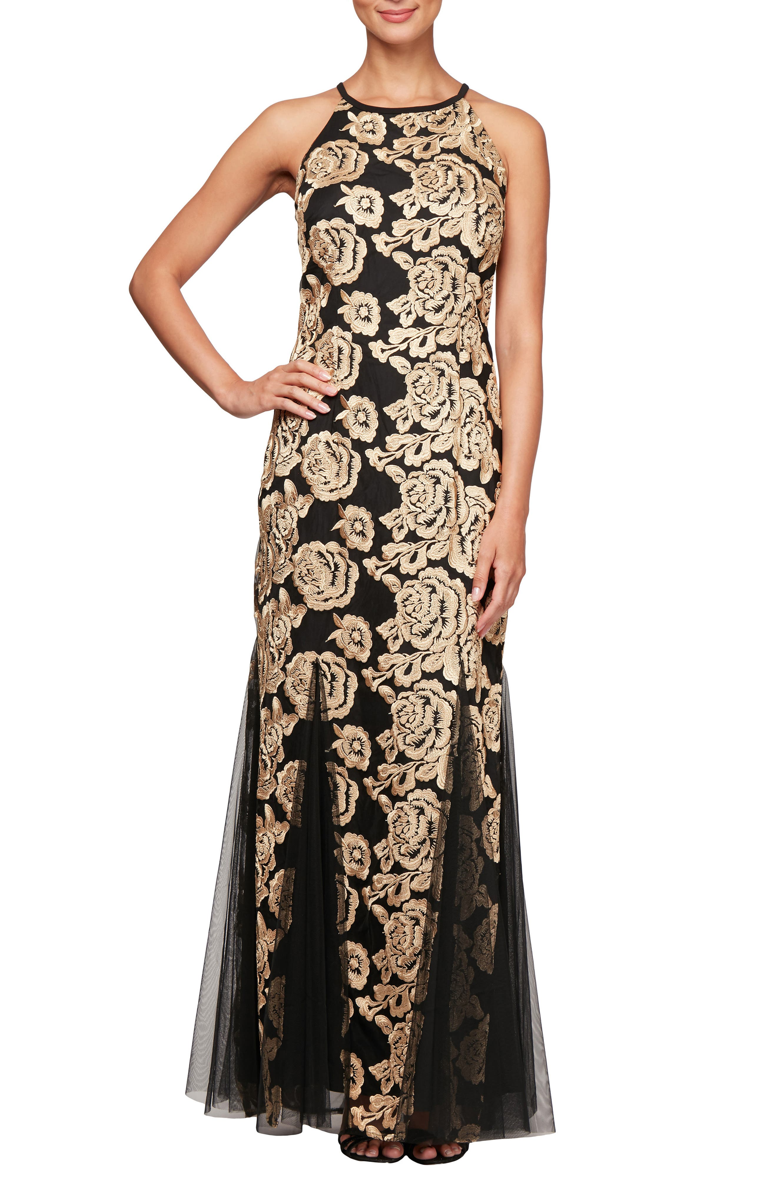 Flower Embroidered Gown,                             Main thumbnail 1, color,                             BLACK GOLD