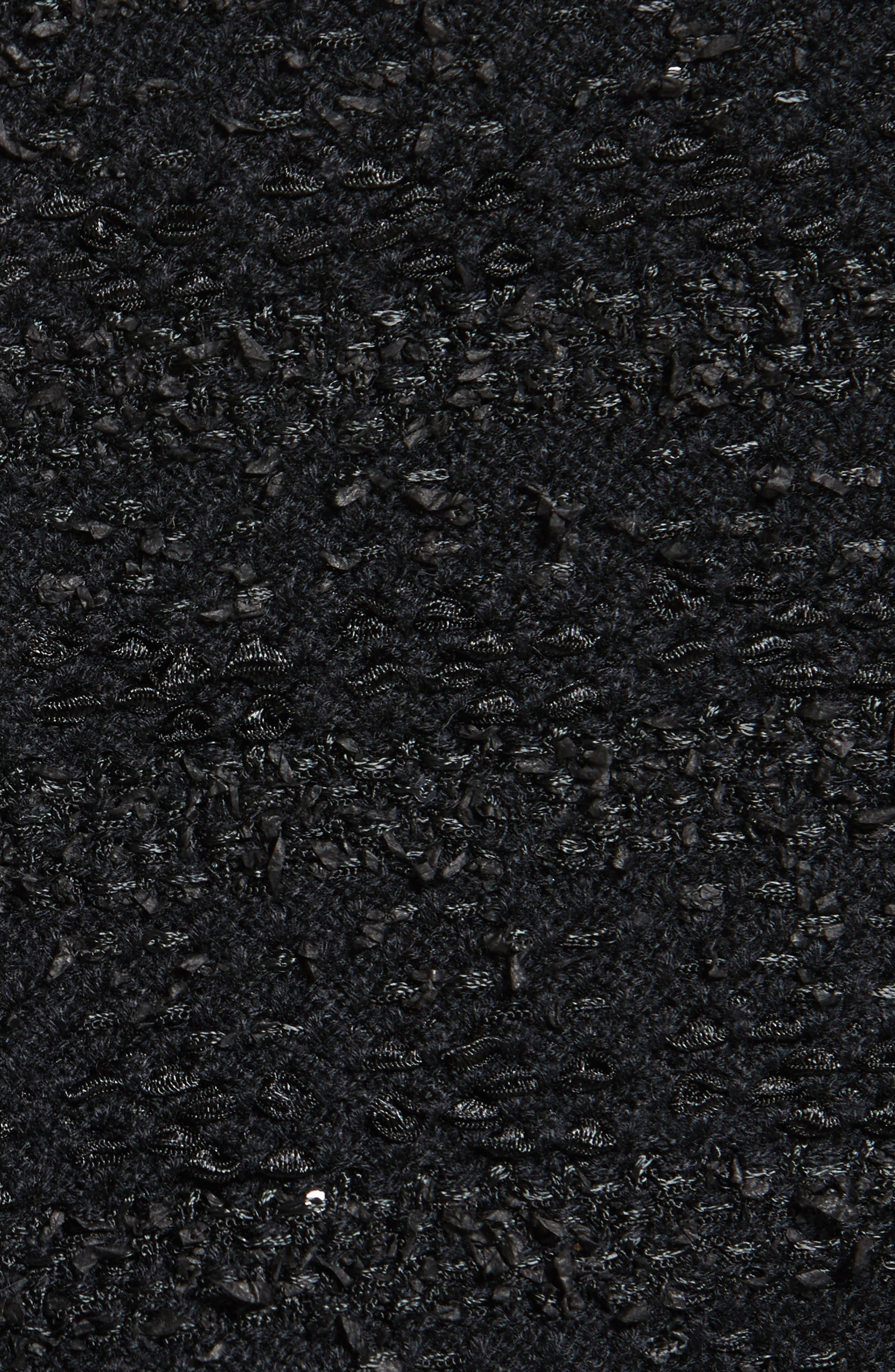 Sequin Knit Topper with Detachable Genuine Rabbit Fur Collar,                             Alternate thumbnail 7, color,                             001