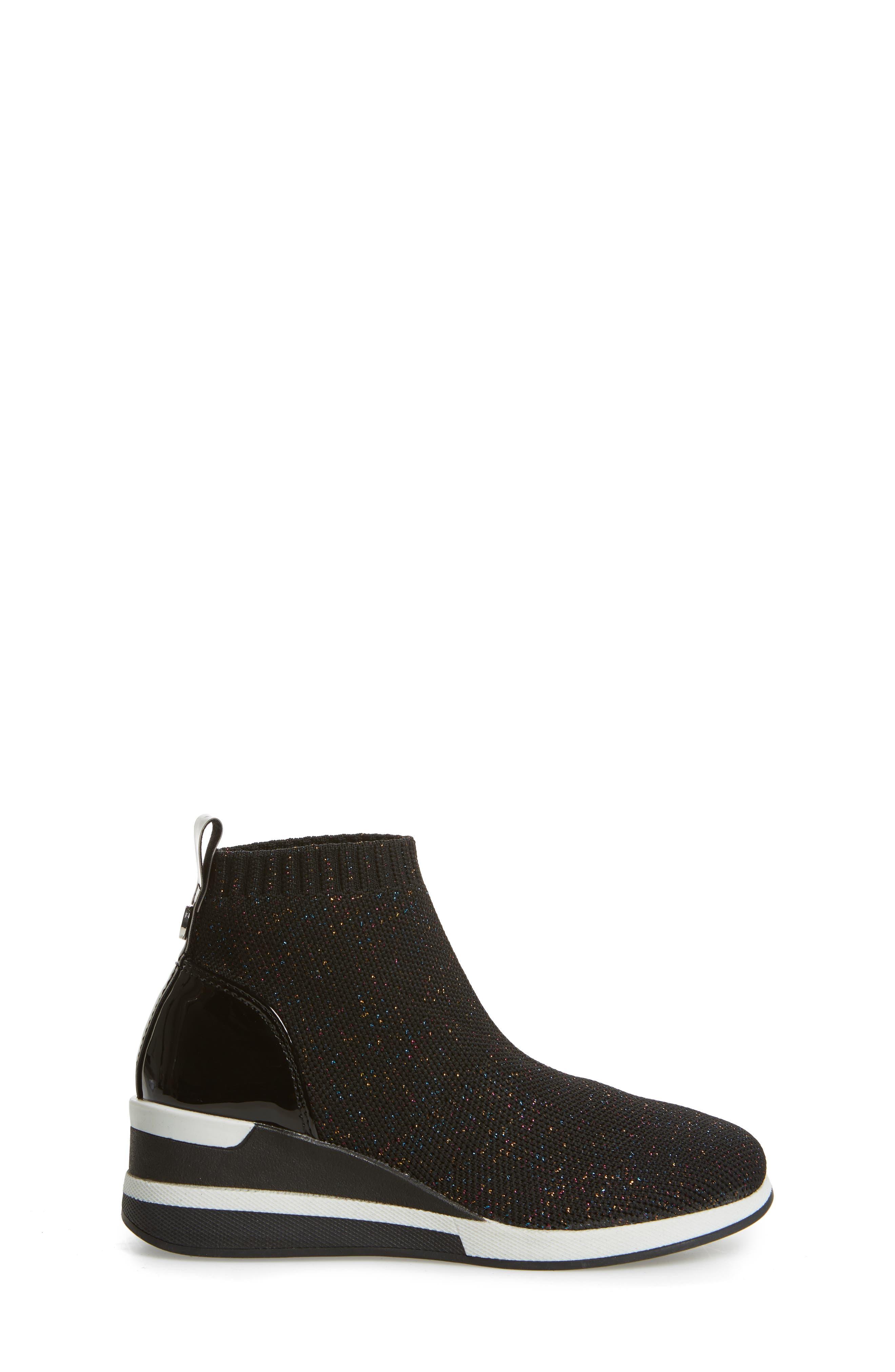 STEVE MADDEN,                             Dusky Metallic High Top Wedge Sock Sneaker,                             Alternate thumbnail 3, color,                             BLACK MULTI