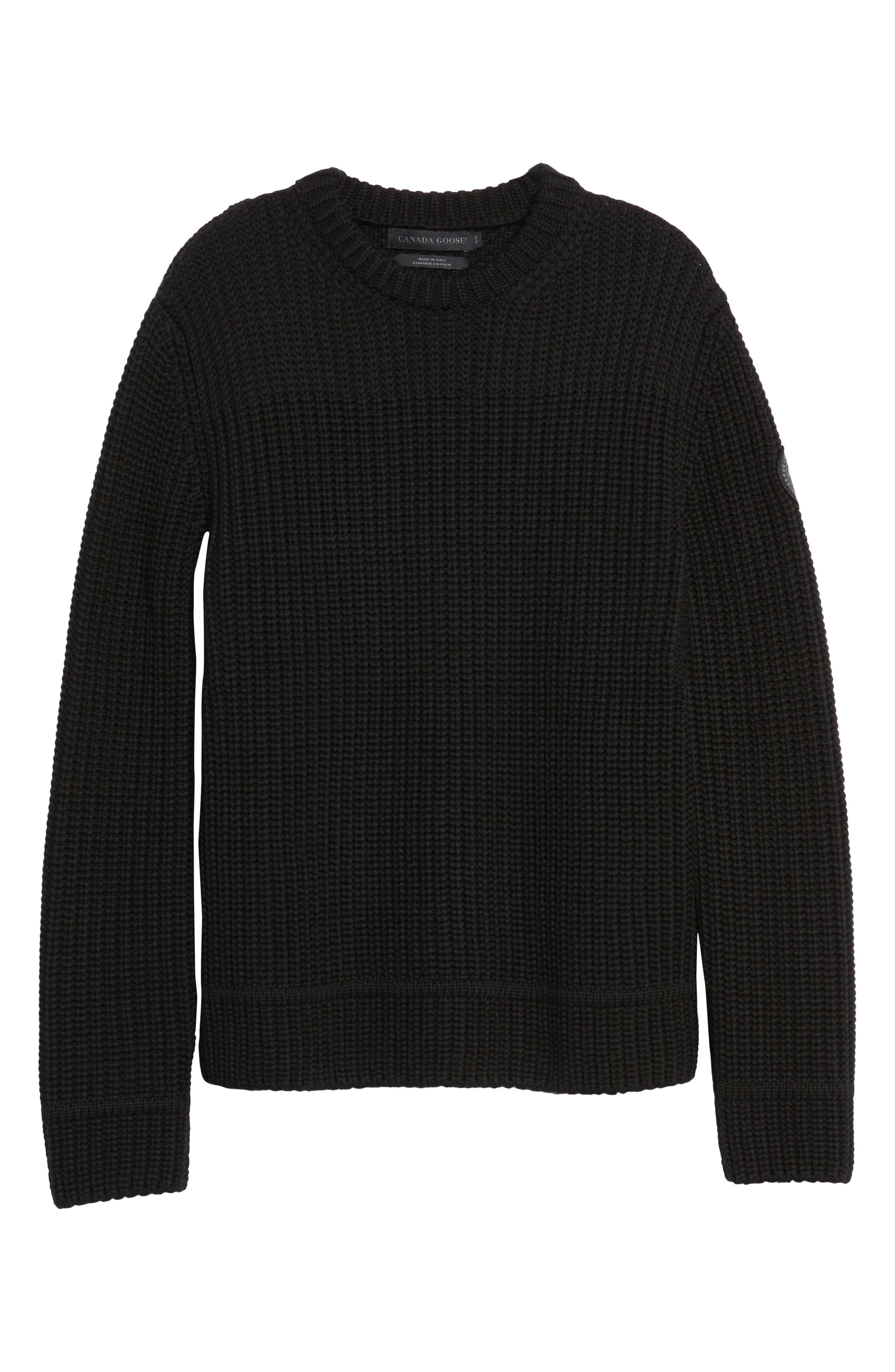 Galloway Regular Fit Merino Wool Sweater,                             Alternate thumbnail 6, color,                             BLACK
