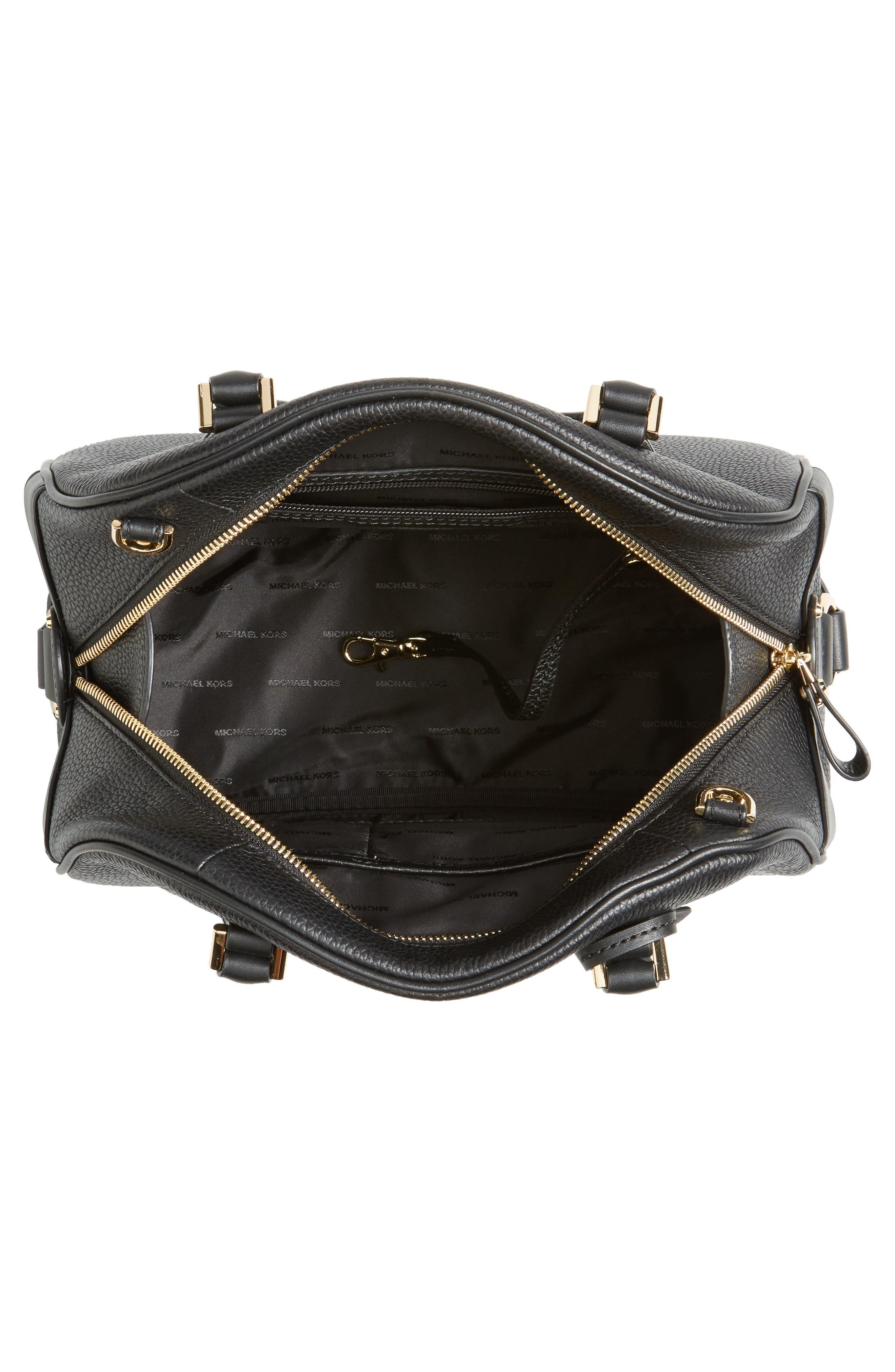 Large Briar Leather Satchel,                             Alternate thumbnail 4, color,                             001