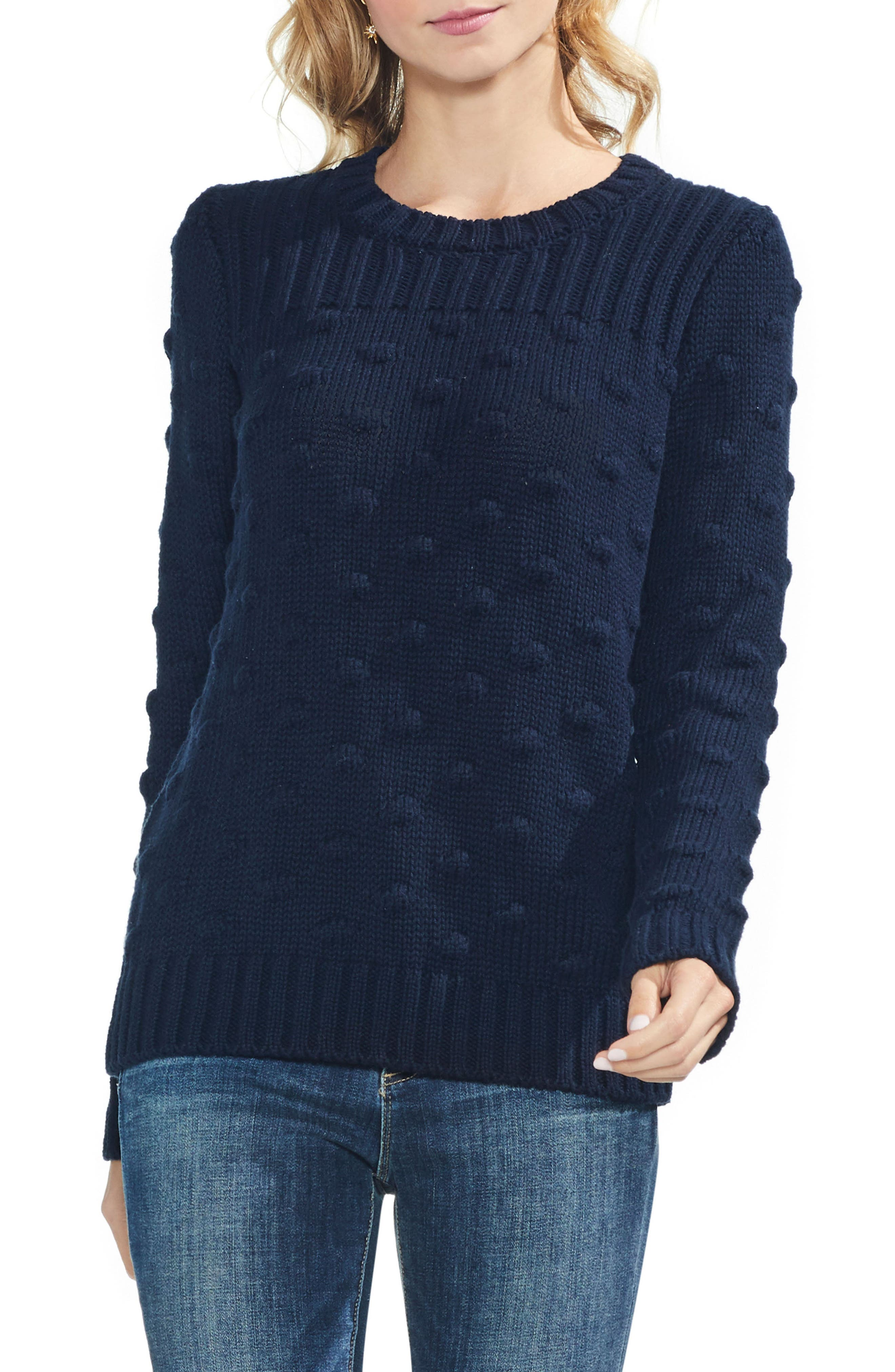 Vince Camto Popcorn Stitch Cotton Sweater,                             Main thumbnail 1, color,                             CLASSIC NAVY