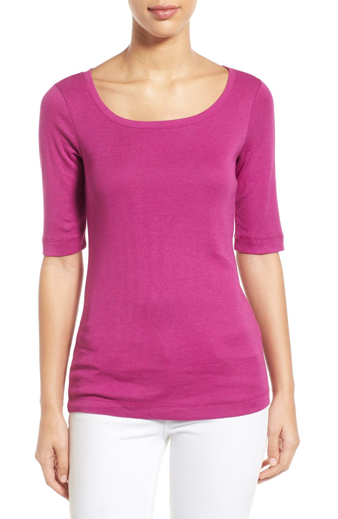 Ballet Neck Cotton & Modal Knit Elbow Sleeve Tee,                             Main thumbnail 38, color,