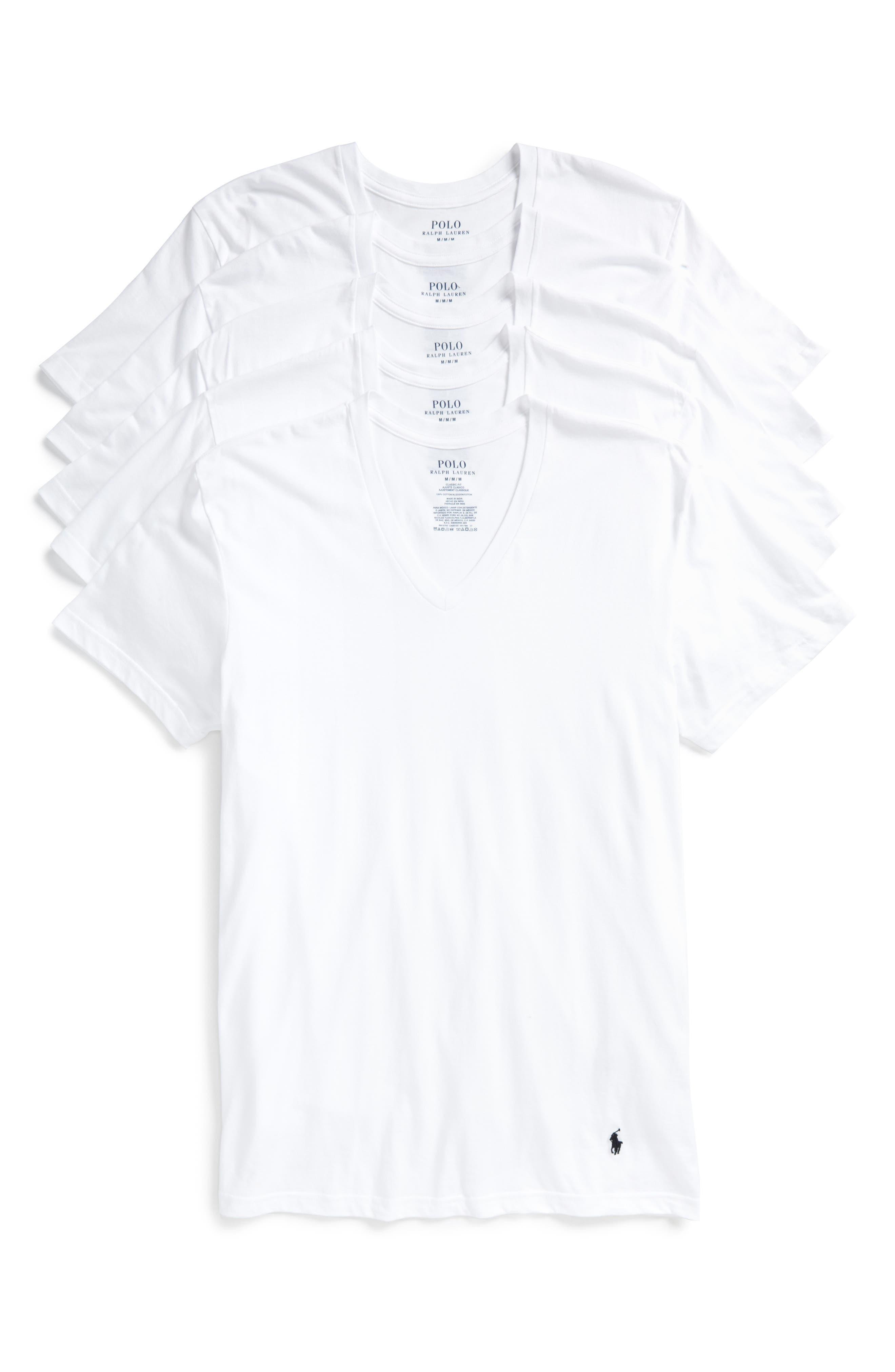 5-Pack V-Neck T-Shirts,                         Main,                         color, 100