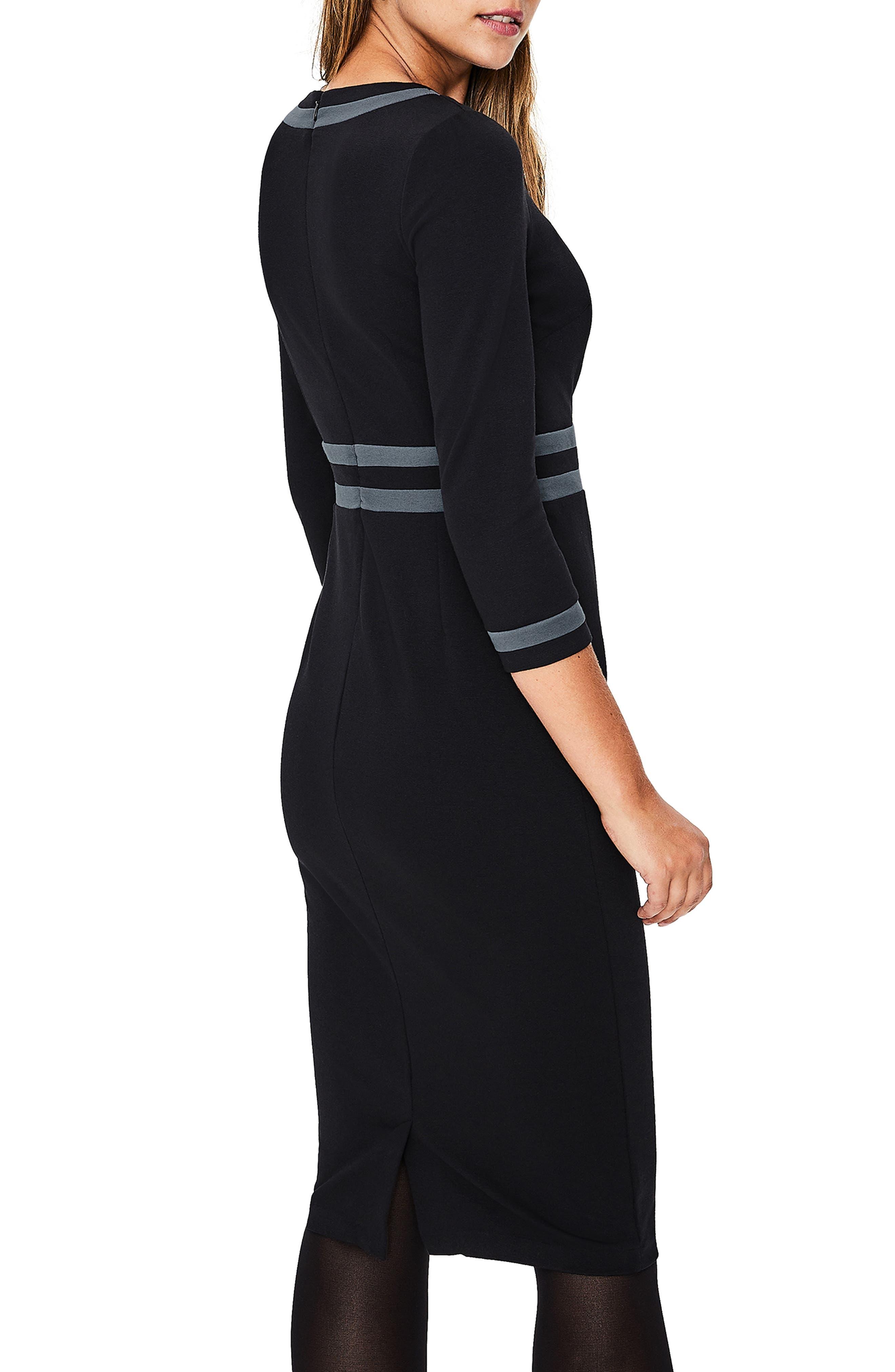 Nellie Ponte Knit Dress,                             Alternate thumbnail 2, color,                             BLACK