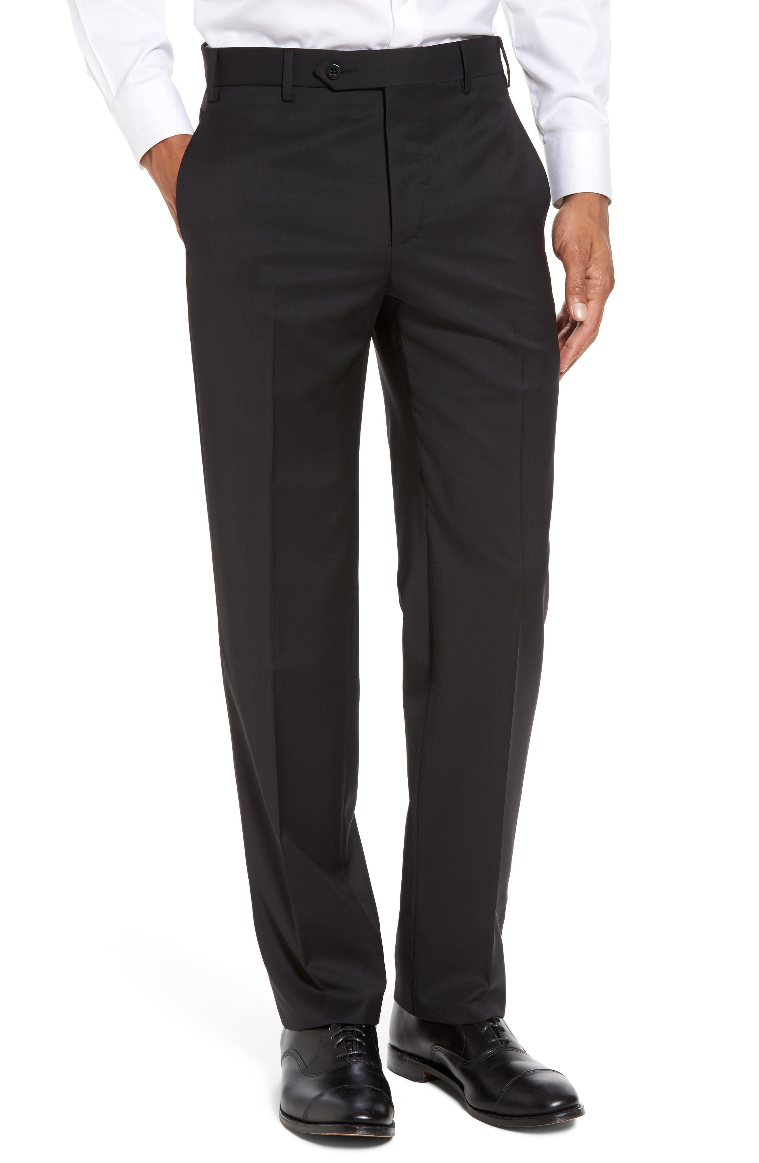 Devon Flat Front Solid Wool Serge Trousers,                             Main thumbnail 1, color,                             BLACK