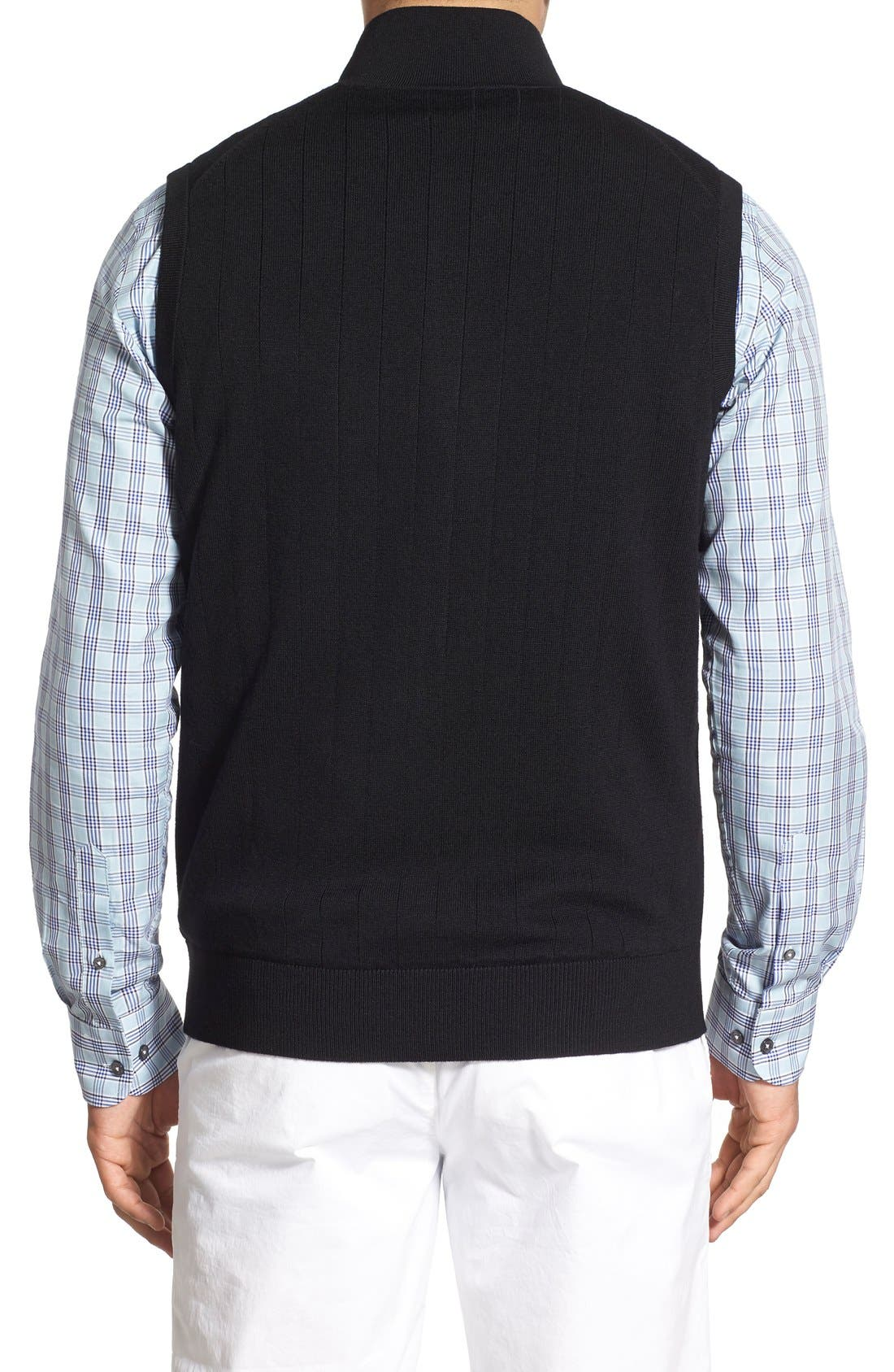 Quarter Zip Wool Sweater Vest,                             Alternate thumbnail 2, color,                             001